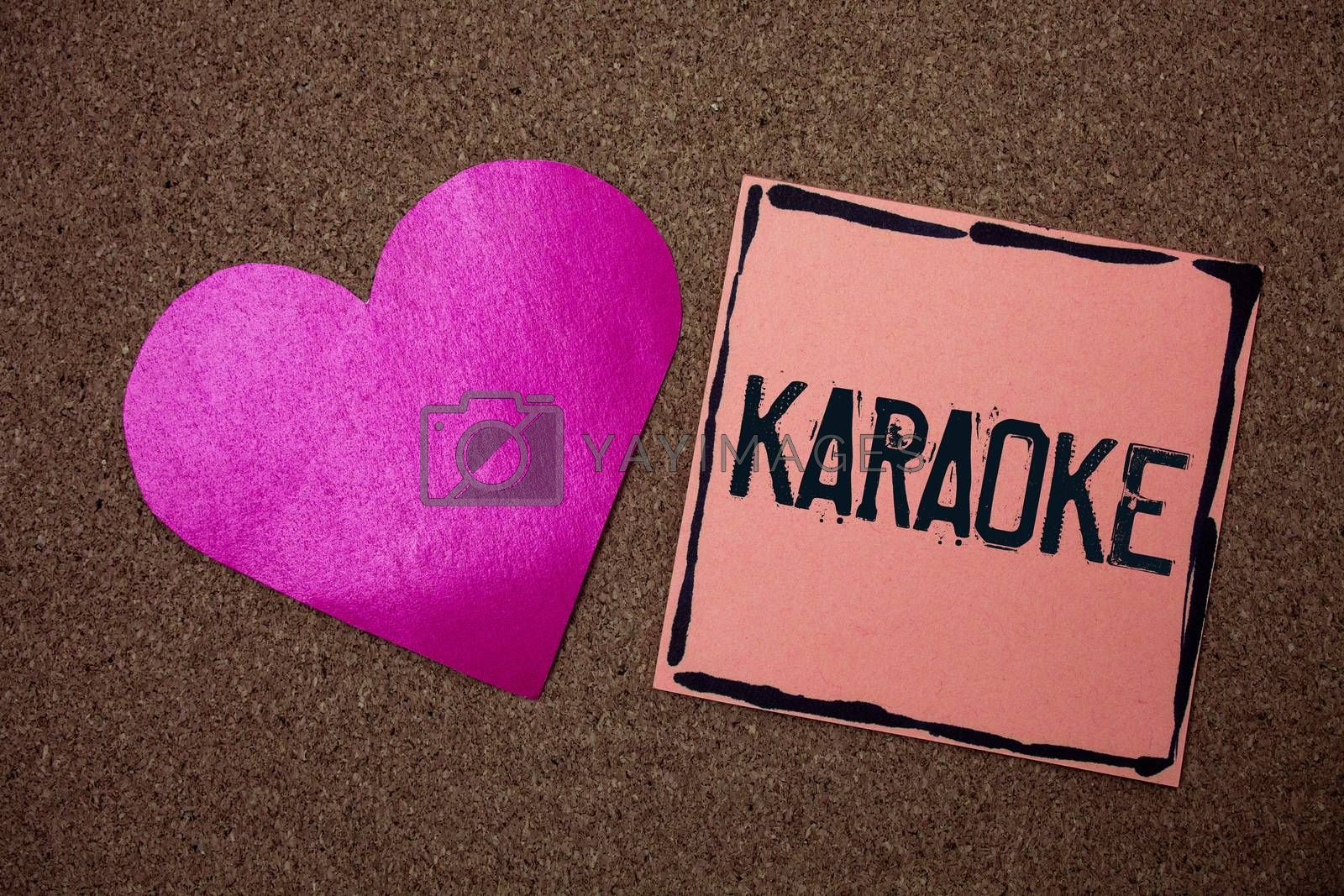 Word writing text Karaoke. Business concept for Entertainment singing along instrumental music played by a machine Love heart sticky small papers remember rough dark background line drawing