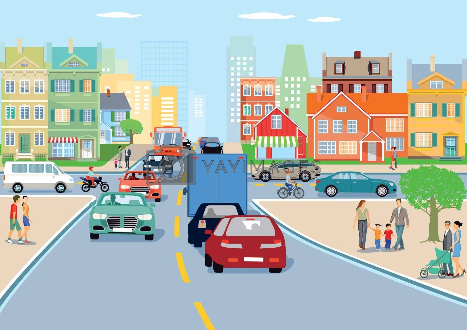 Royalty free image of City with traffic illustration by scusi