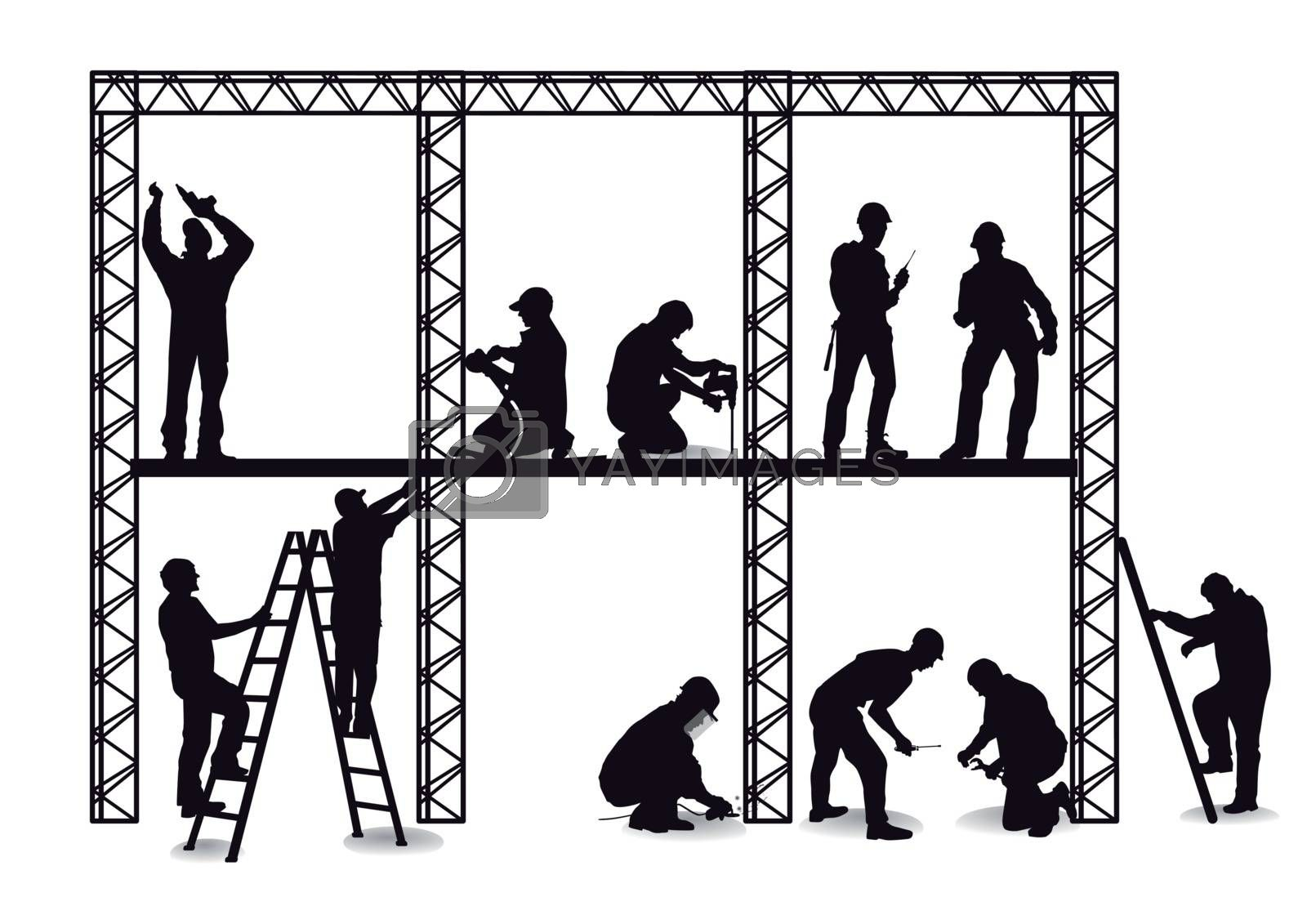 Royalty free image of craftsman at the construction site by scusi