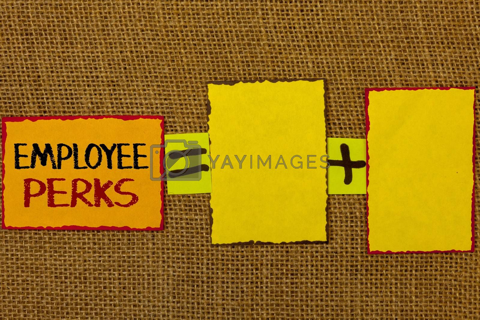 Conceptual hand writing showing Employee Perks. Business photo showcasing Worker Benefits Bonuses Compensation Rewards Health Insurance Text equals empty note plus emptu yellow note love funny