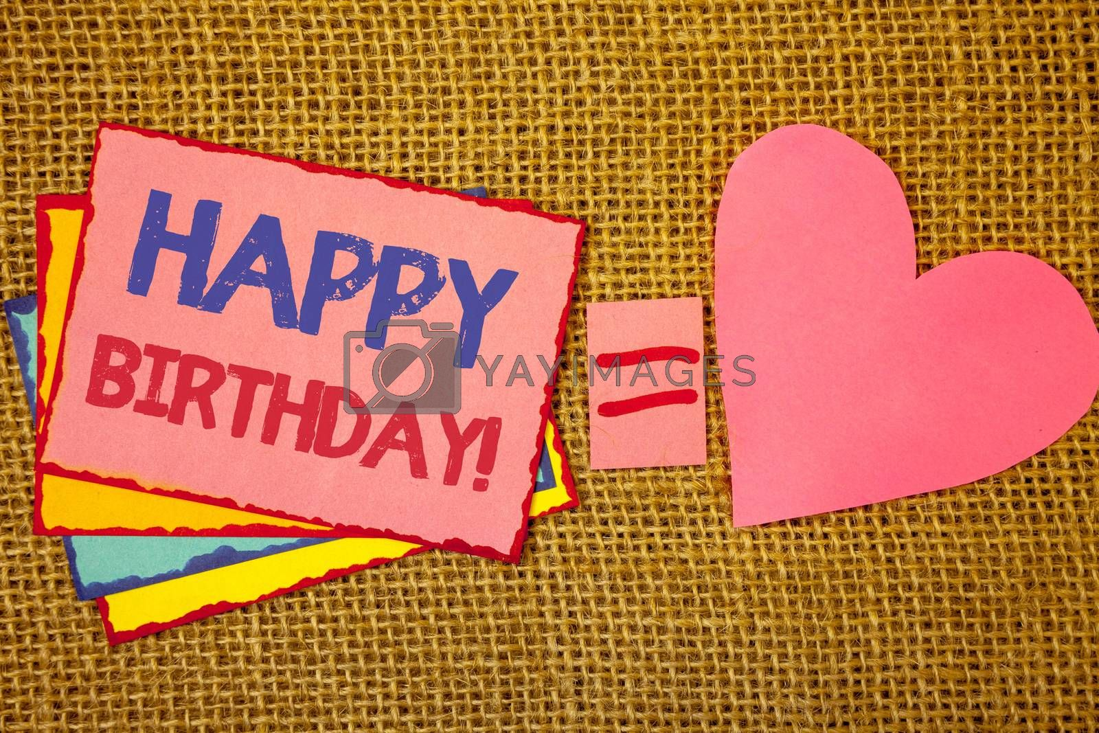 Writing note showing  Happy Birthday Motivational Call. Business photo showcasing Congratulations Celebrating Anniversary Pink yellow blue notes black red letters ideas equal sign heart wicker