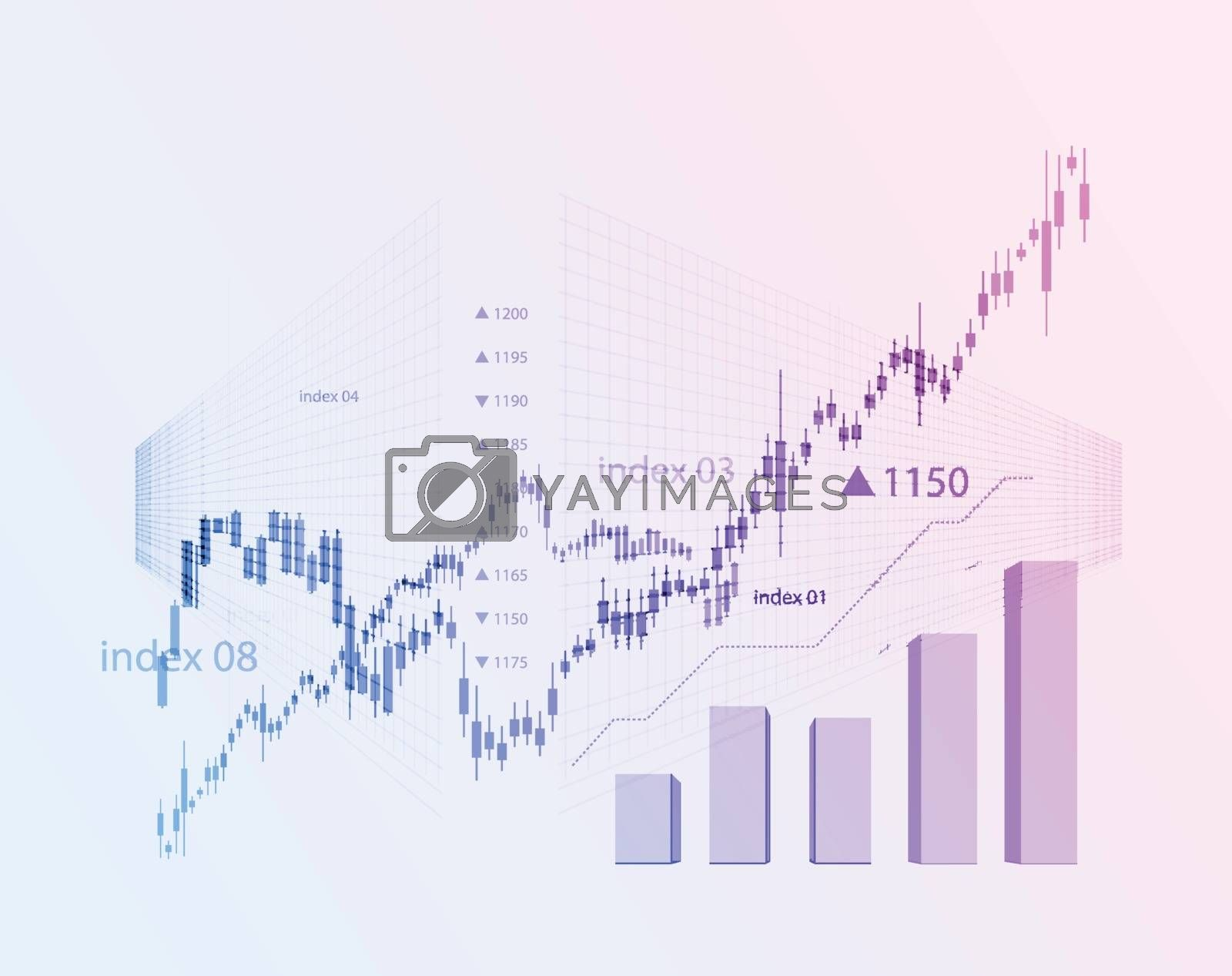 The schedule for changing the stock market graph in a positive direction. The investment economy and the development of new financial tools for trade online. Vector illustration