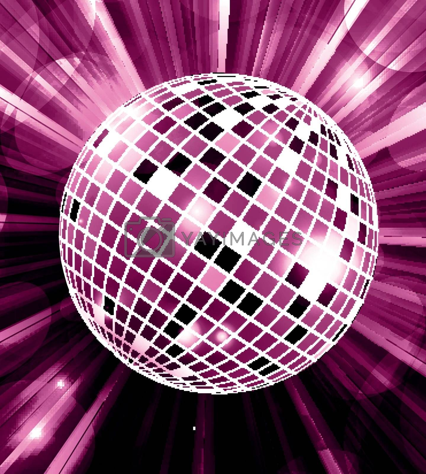 Disco party vector background with rays and disco ball. Vector illustration