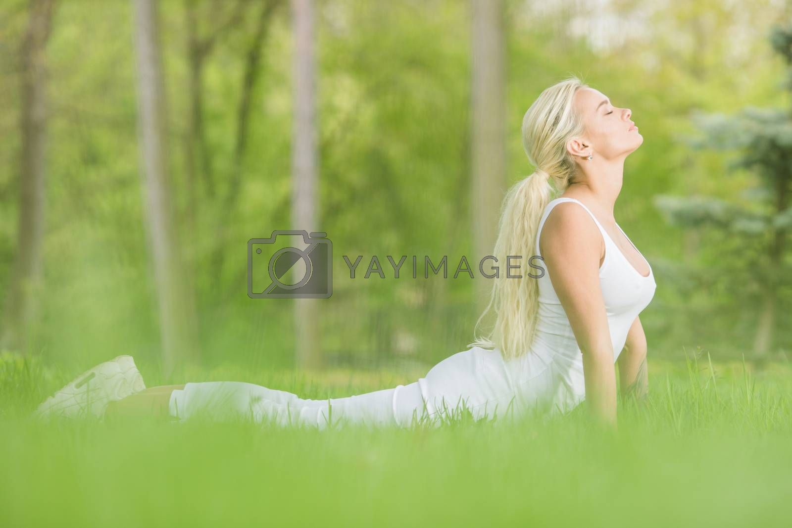 Young girl doing cobra asana yoga exercise in spring park