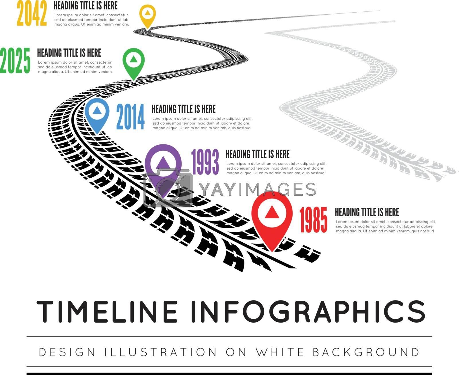 Road way design infographics. Tire tracks timeline. Vector illustration on white