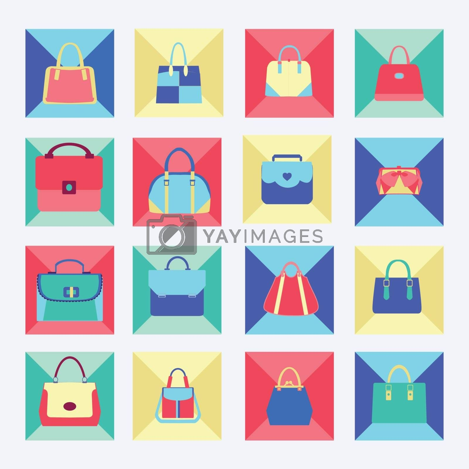 Vector Set icon of collection of Women fashion bags in Flat design illustration