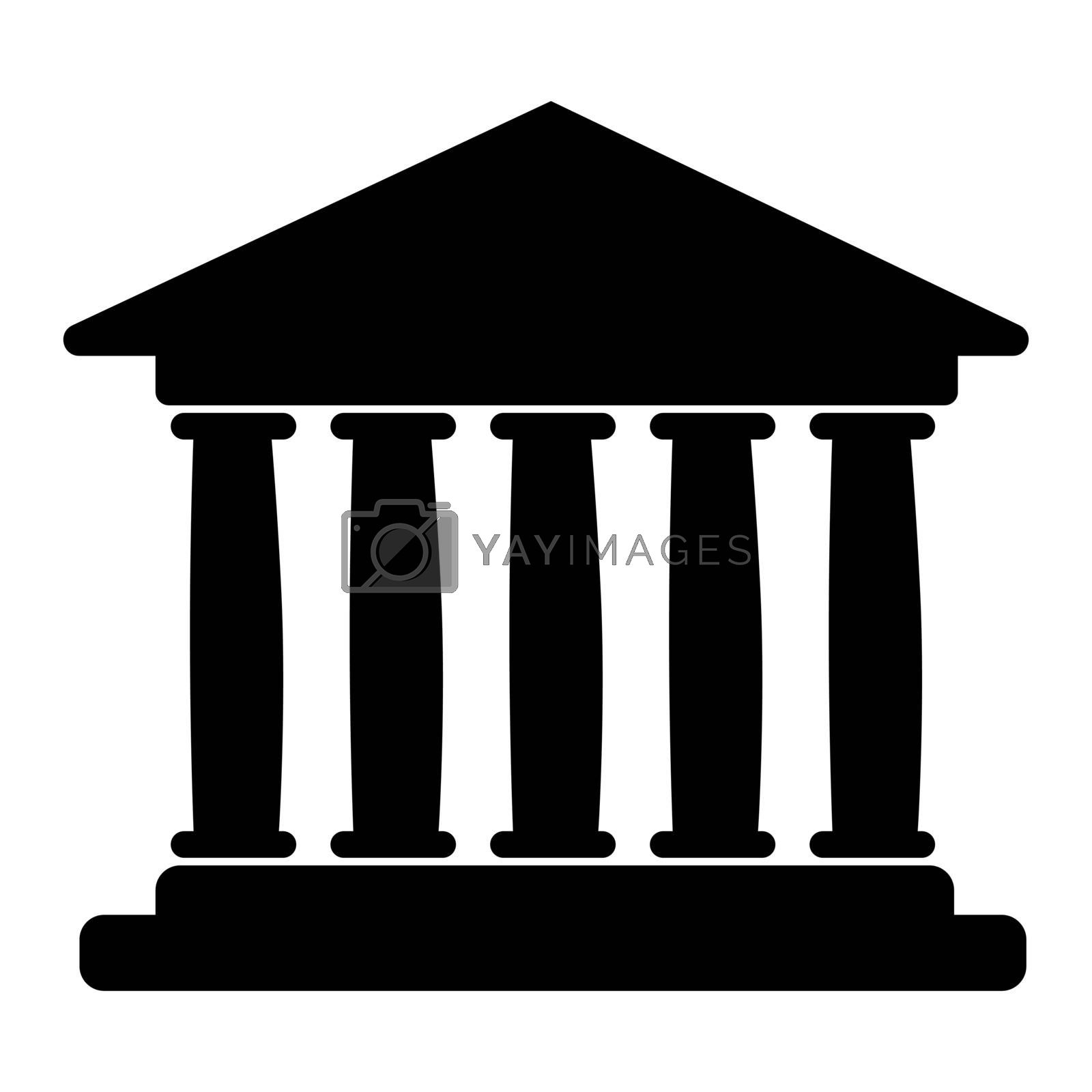 House with columns icon. Building of bank, government, court house, educational or cultural establishment with classic Greek columns. Vector Illustration