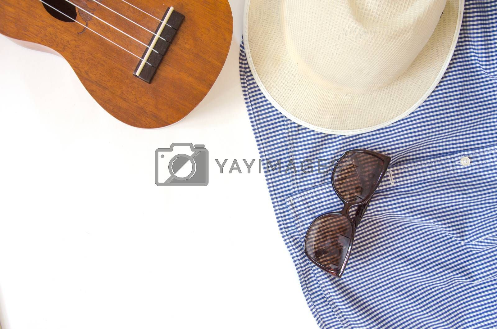 The concept of travel. Out of the traveler accessories. Flat lay traveler on background with copy space. Vintage tone