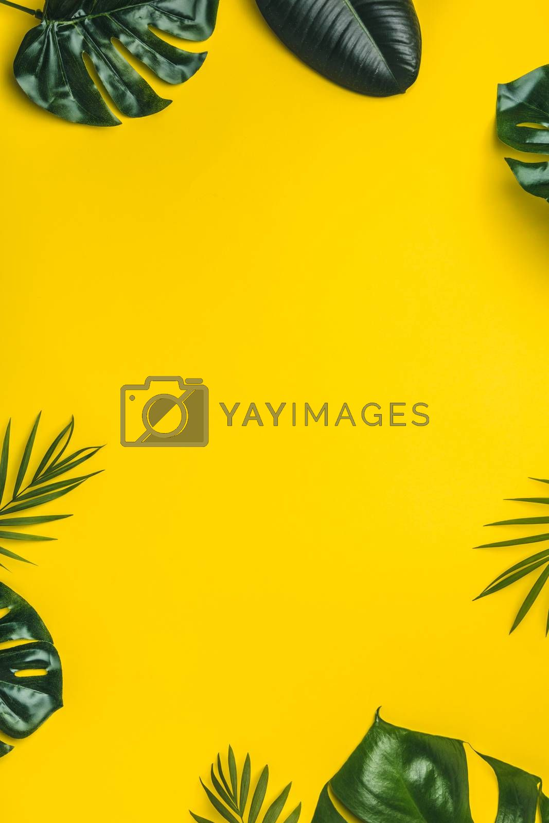 Tropical leaves on yellow background, minimal concept, flat lay