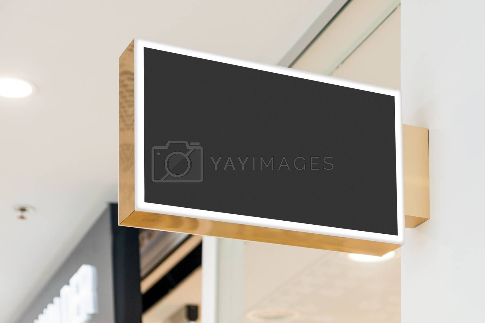 Blank modern company sign mockup, shop signage template in shopping mall