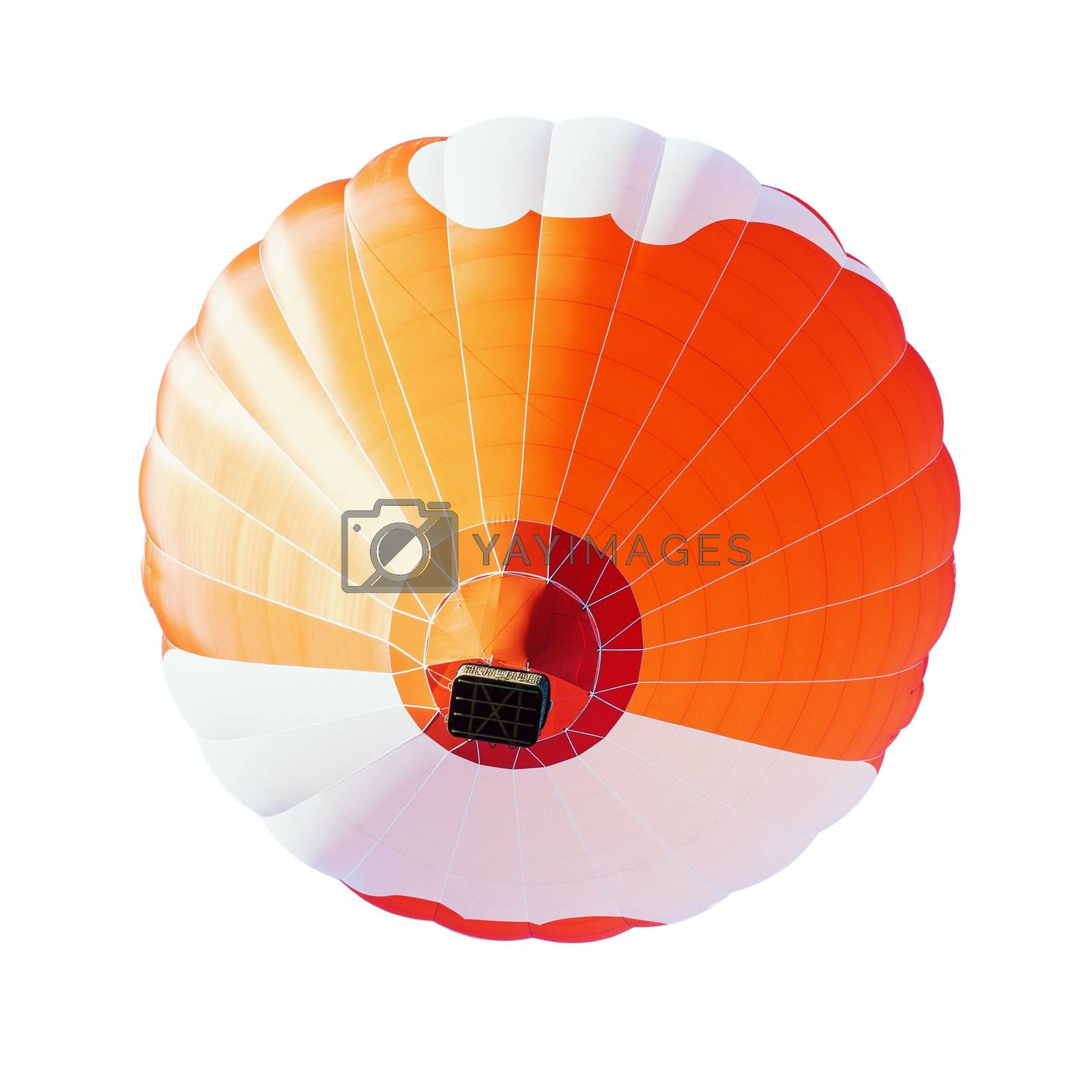 Colorful unbranded hot-air balloon flying, isolated on white background, low angle picture