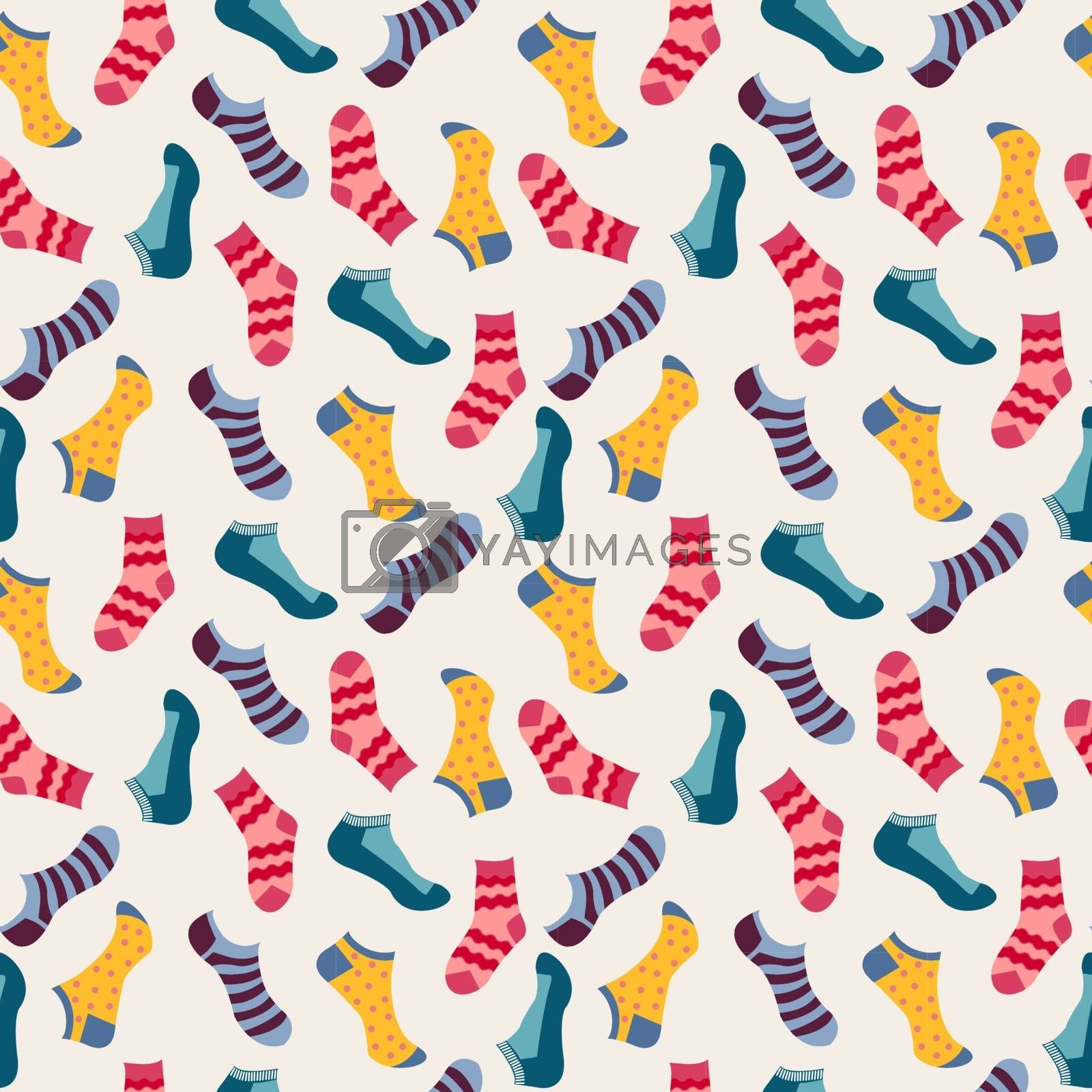 Vector fashion Seamless pattern with colored socks. Various socks- Illustration