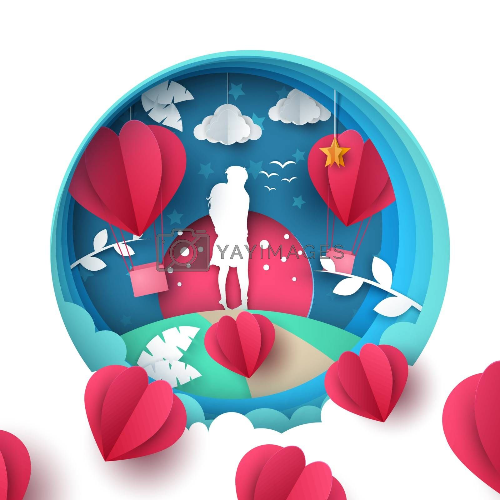 Man and woman love illustration. Paper cartoon landscape. Valentines day. by rwgusev