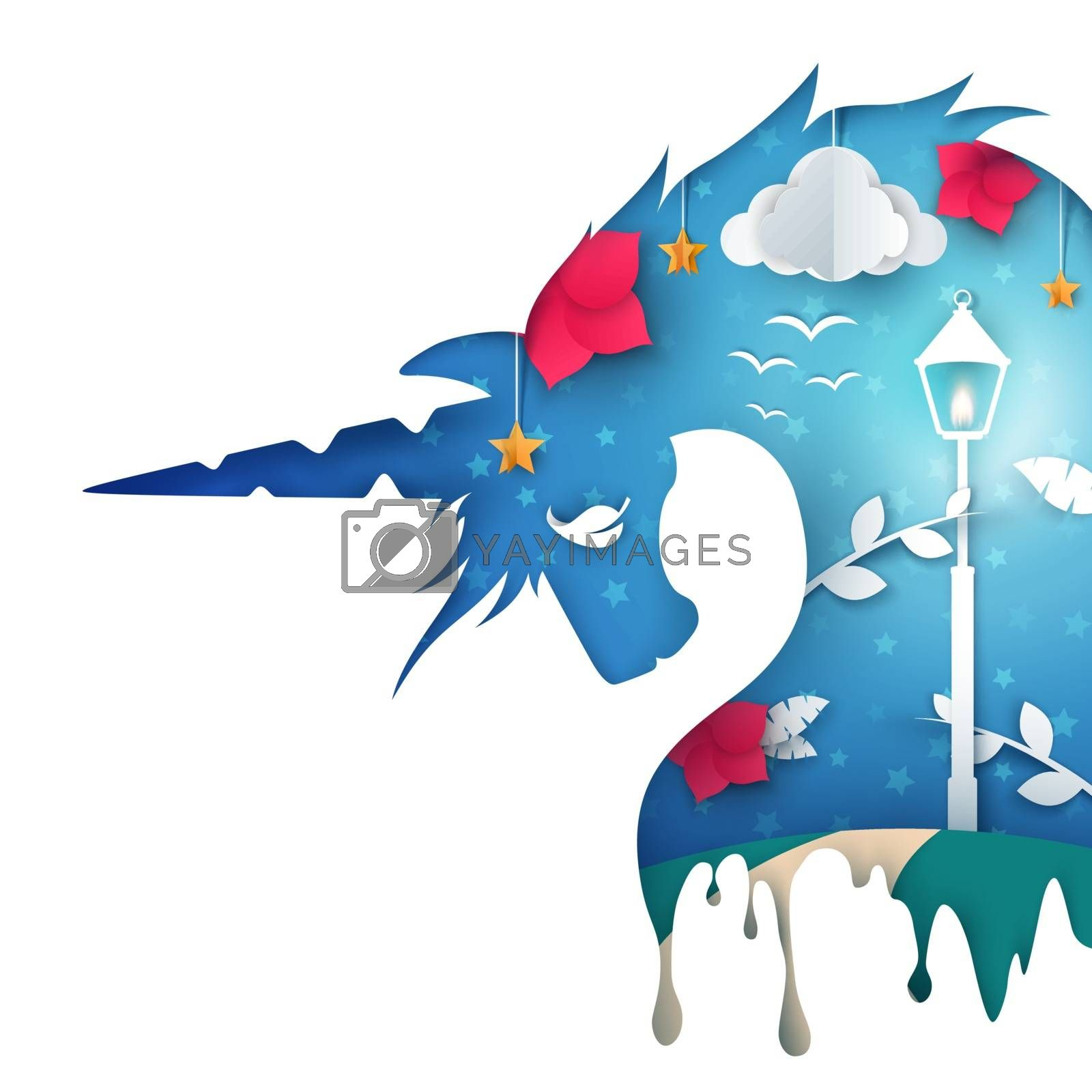 Cartoon unicorn illustration. Paper landscape. by rwgusev