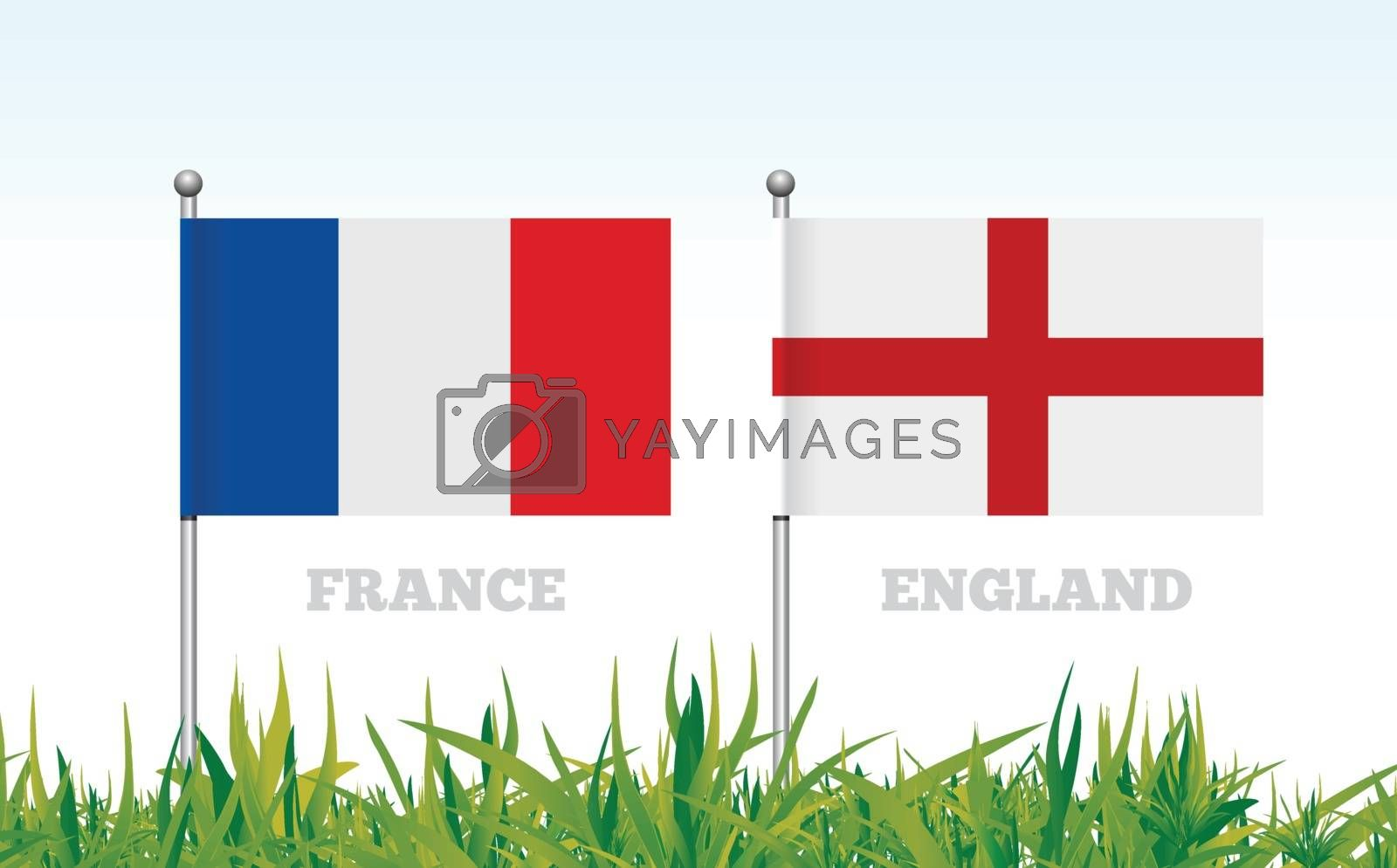 Flags of France and England against the backdrop of grass football stadium. Vector illustration