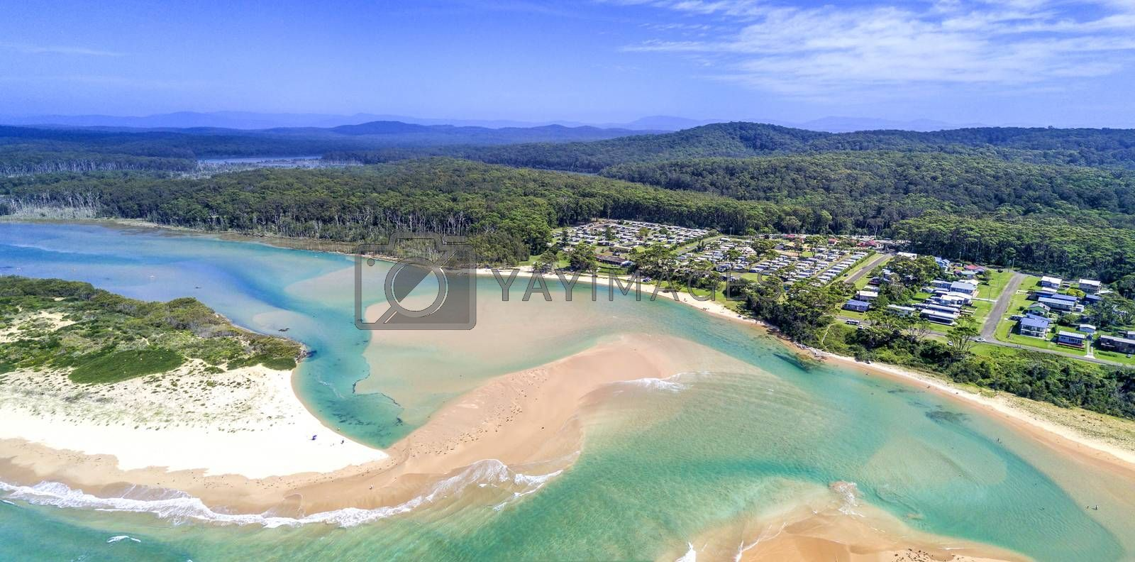 Durras Inlet separates North and South Durras townships.  In view is the popular Durras Lake North Park in Murramarang National Park, a great holiday vacation spot.