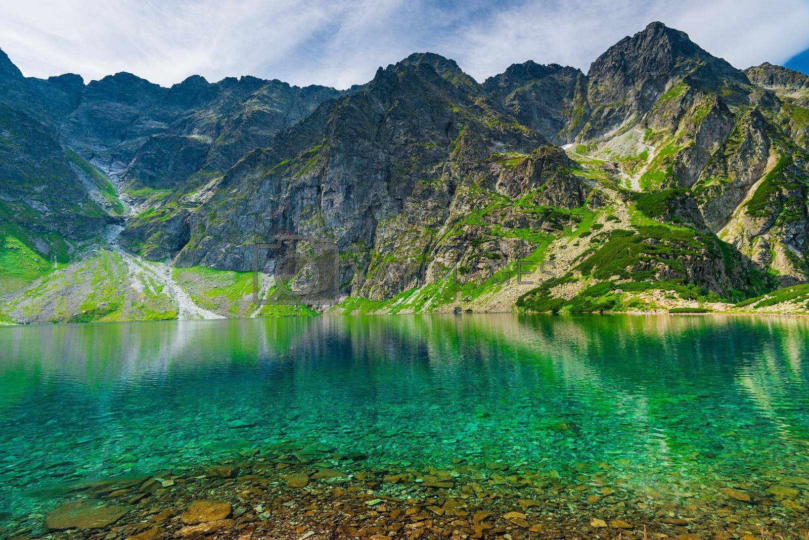 background - scenic landscape of a mountain and a lake in the Ta by kosmsos111