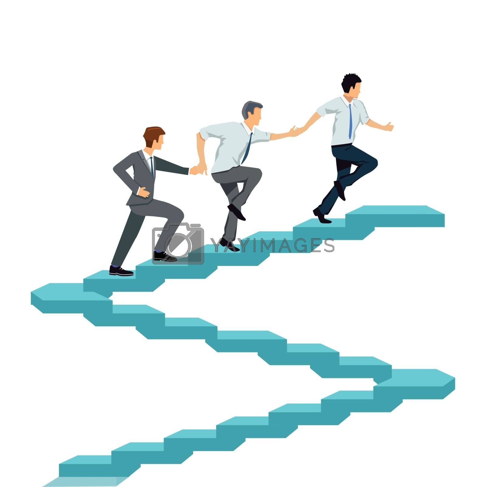 Successfully climb up together, teamwork illustration