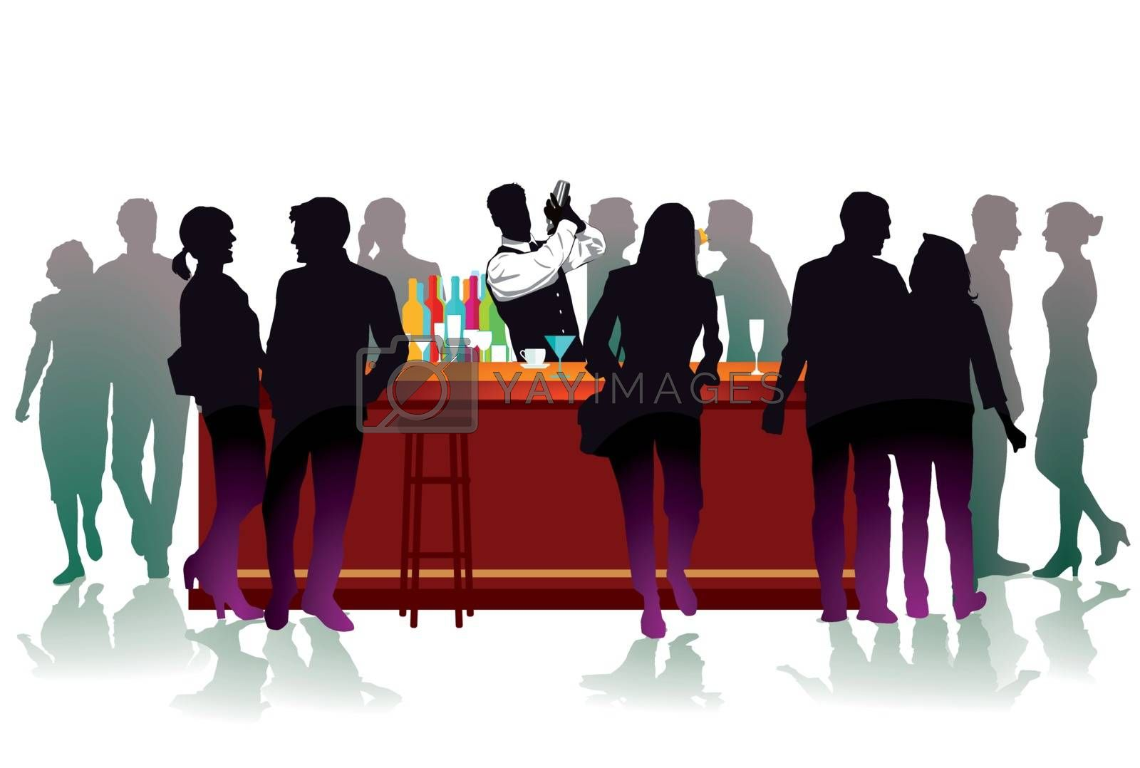 Royalty free image of Bar with bartender, cocktail mix by scusi