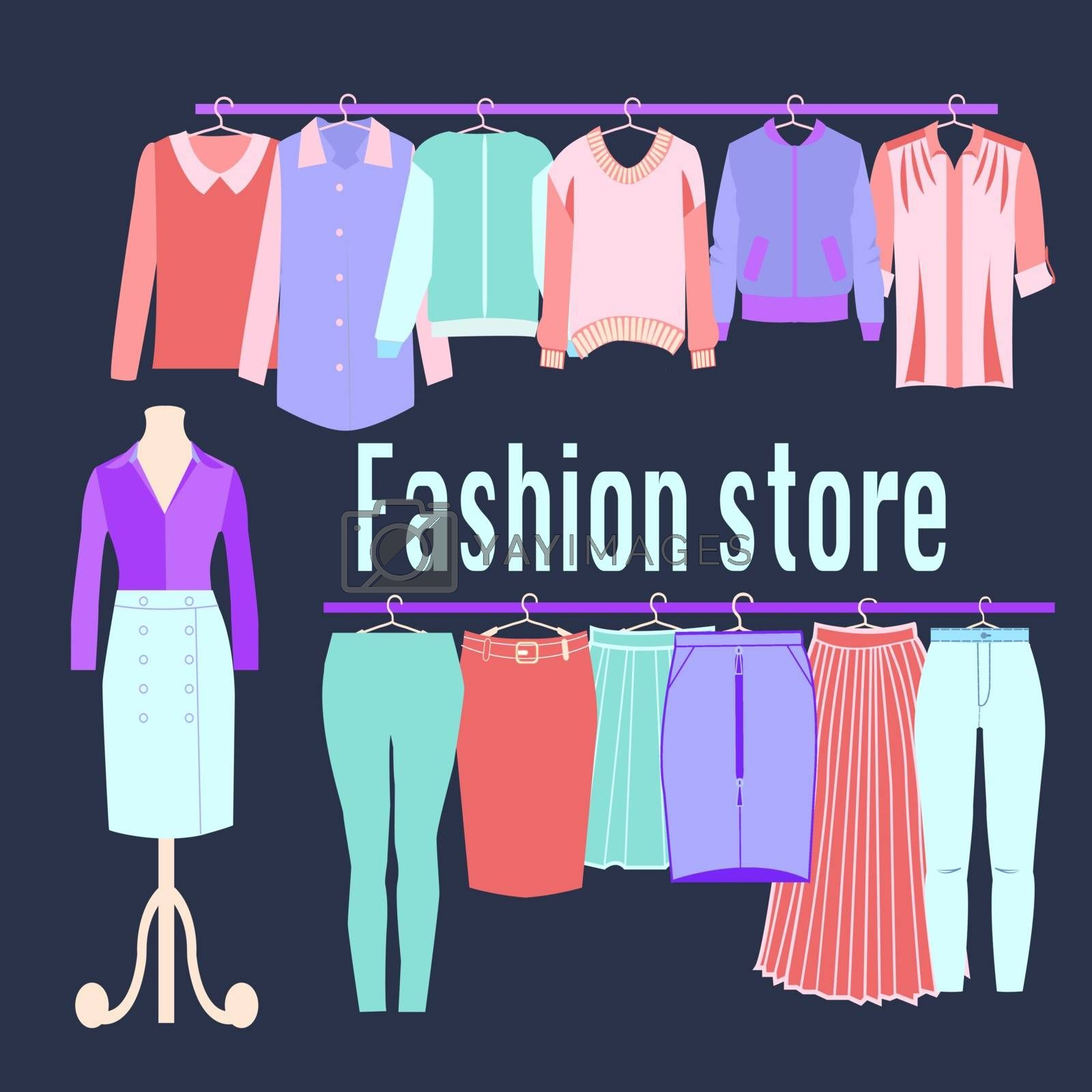 Clothing store background. Boutique Fashion store. Flat design vector illustration. Clothes on hangers.