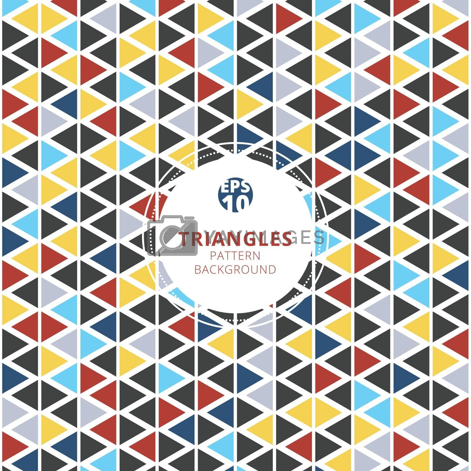 Colorful triangles pattern on white background. Vector illustration