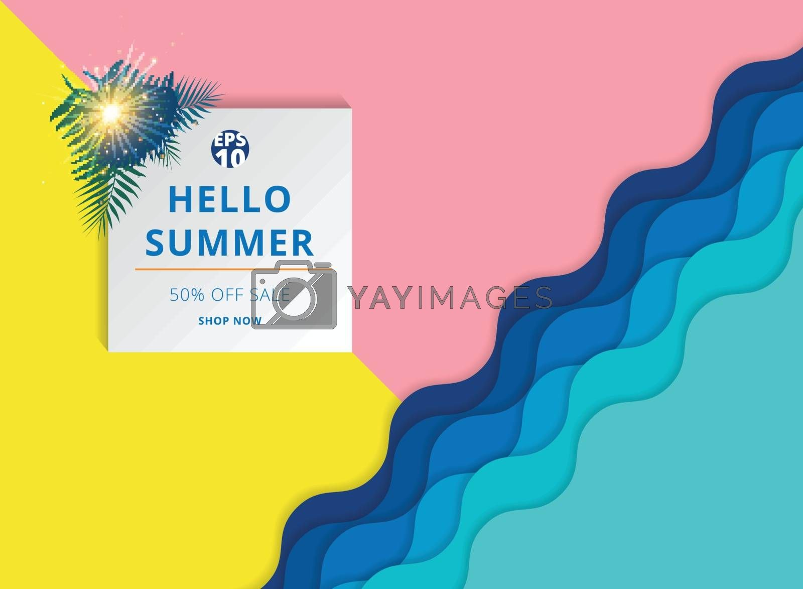 Summer sale background template layout for banner. Gift voucher discount. Vector illustration