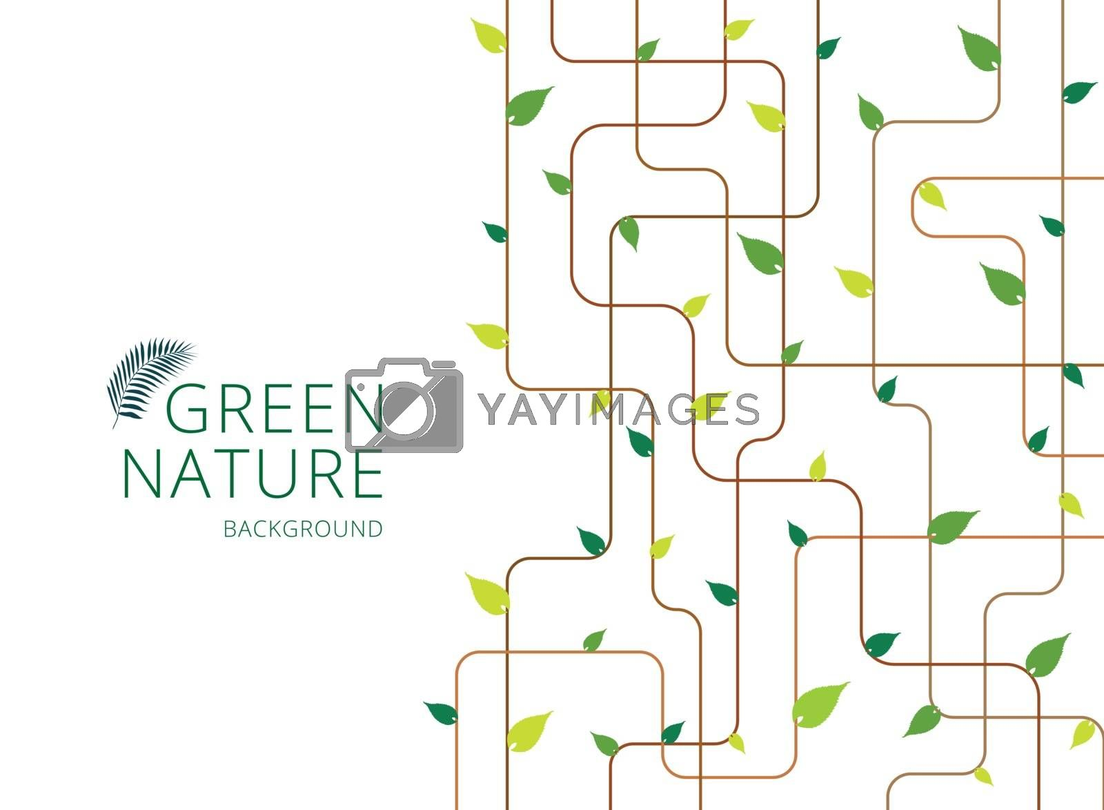 Abstract brown lines with green leaves on white background. Vector illustration
