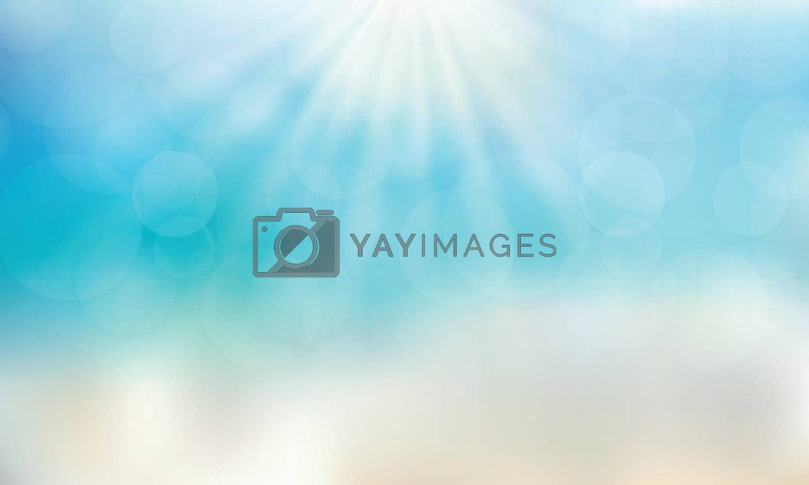 Summer season time on the beach with sunshine day blue sky background. Vector illustration