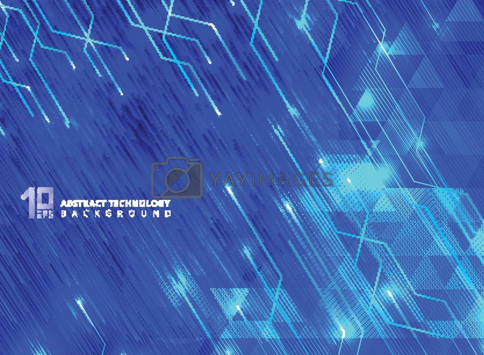 Abstract technology lines with lighting glow futuristic on triangles pattern blue gradients background. Vector illustration