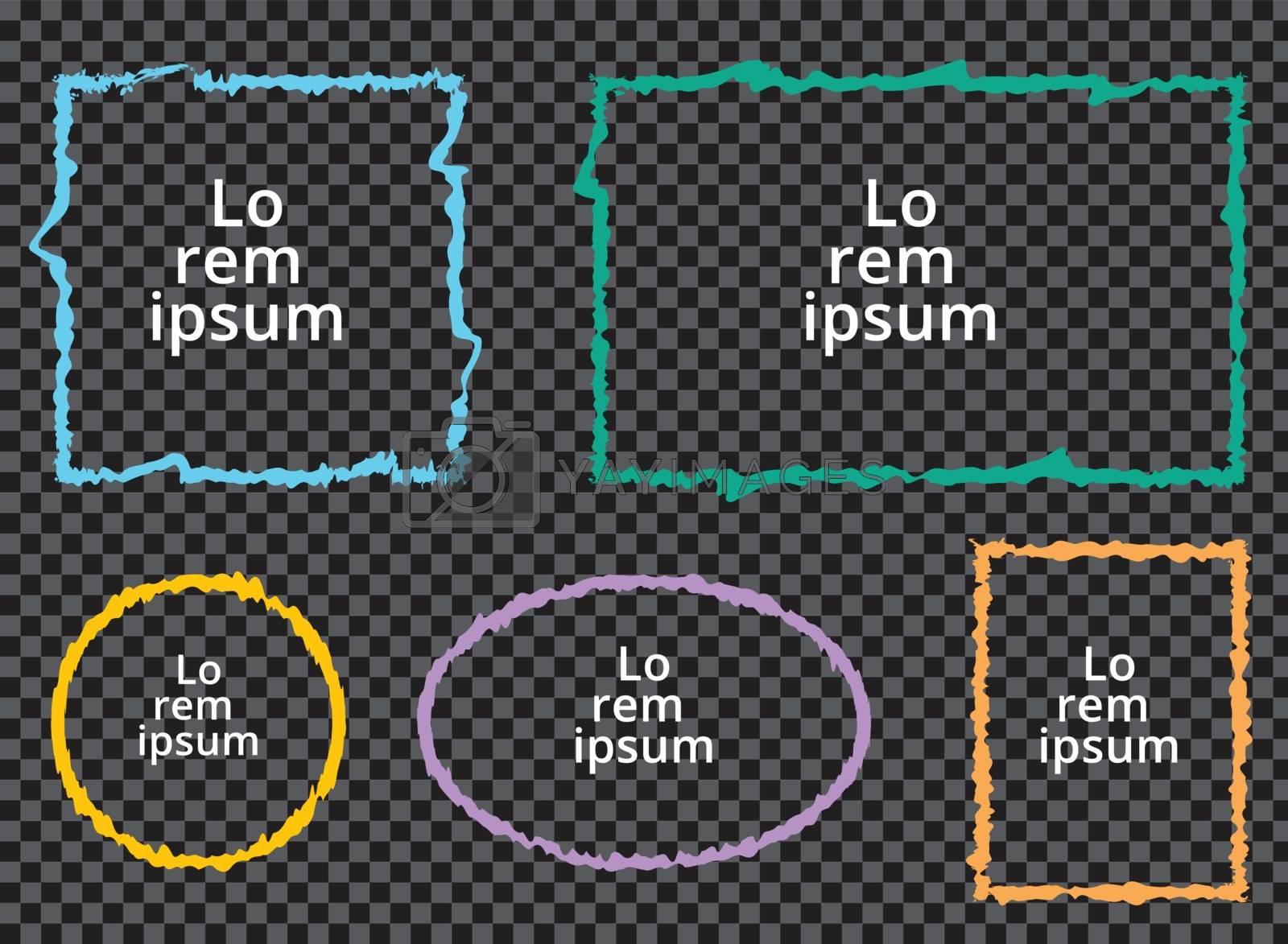 Set of grunge colorful frames on transparent background. Square, rectangle, circle, oval. Vector illustration