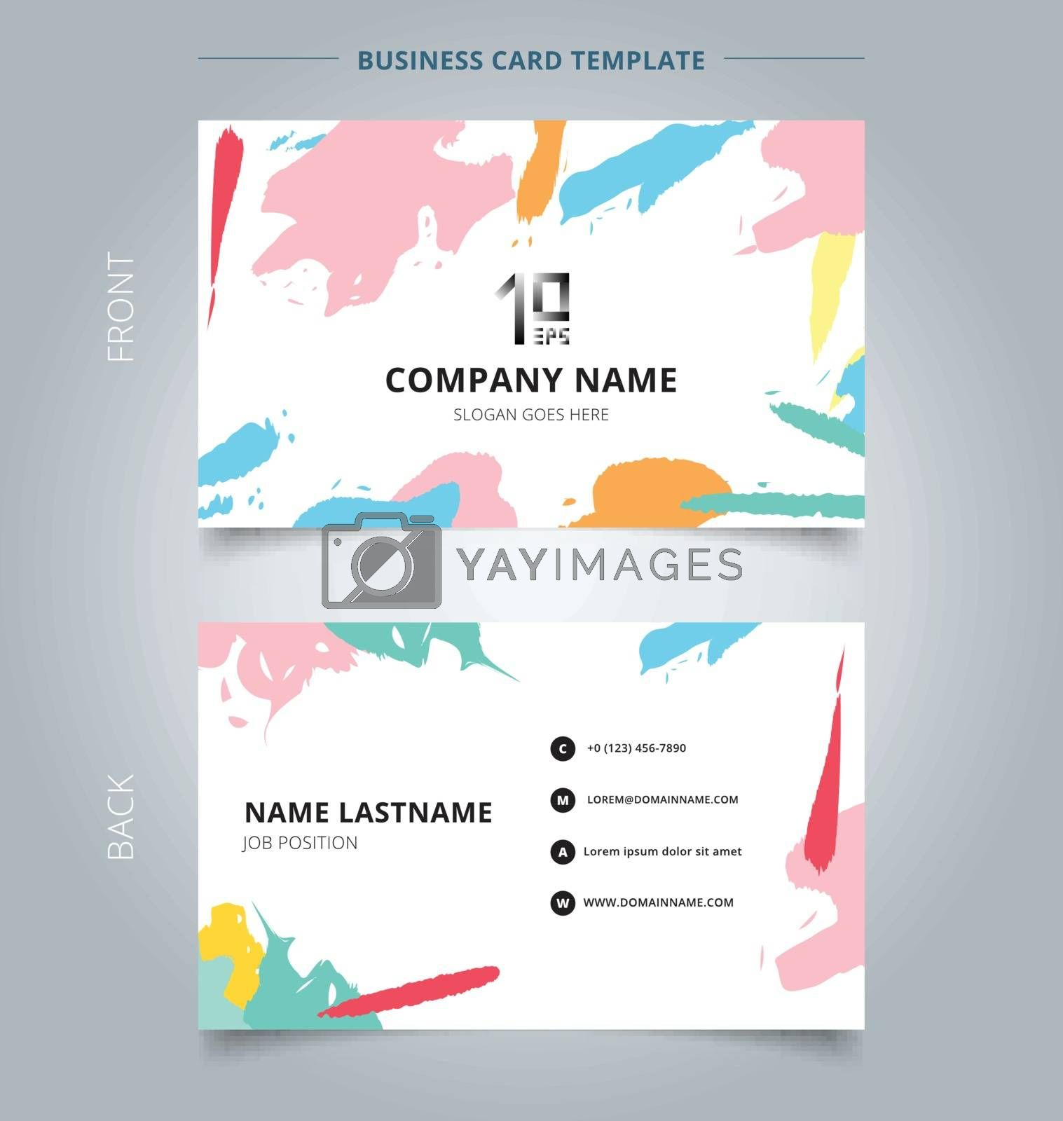 Name card template abstract shapes art pattern pastels color on white background. Vector illustration