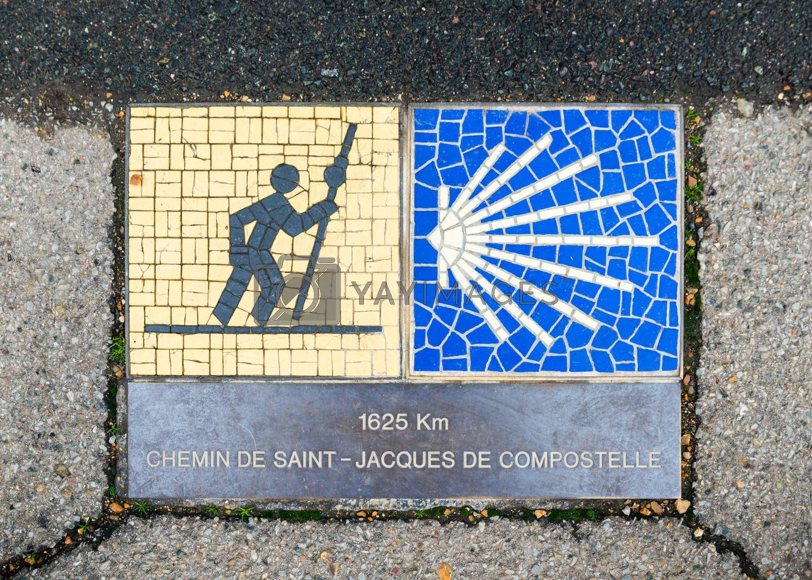Camino de Santiago pilgrimage sign in Chartres, France. The sign reads: 1625 km Way of St James.