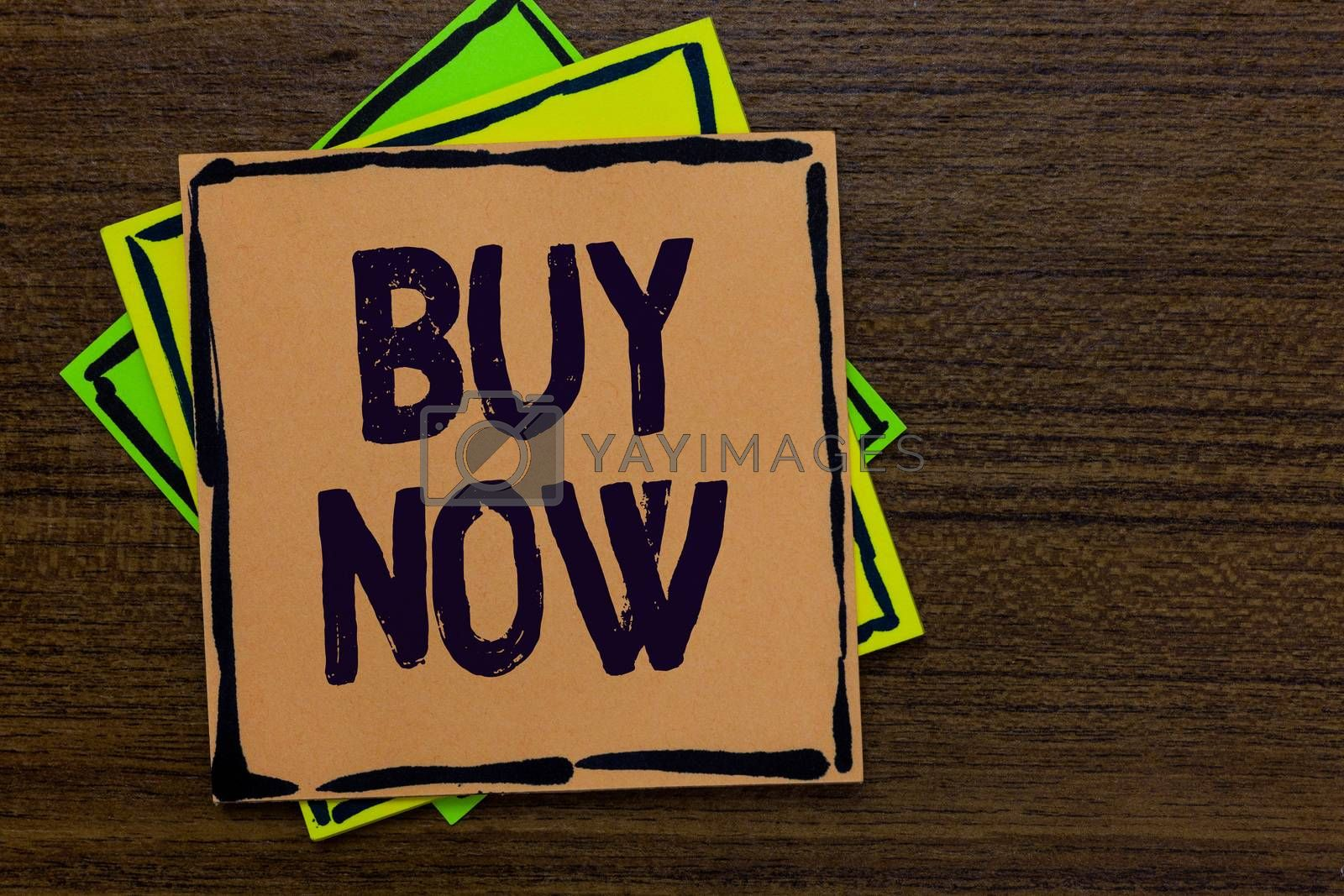 Word writing text Buy Now. Business concept for asking someone to purchase your product Provide good Discount Paper notes Important reminders Express ideas messages Wooden background