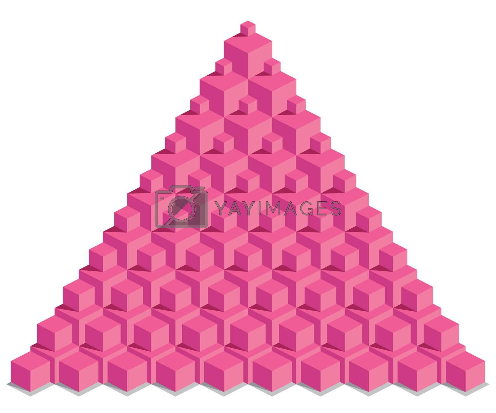 Royalty free image of Pyramid of red cubes, illustration by scusi