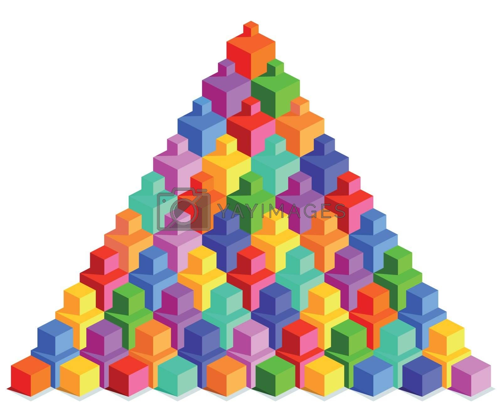 Pyramid of colorful cubes, illustration