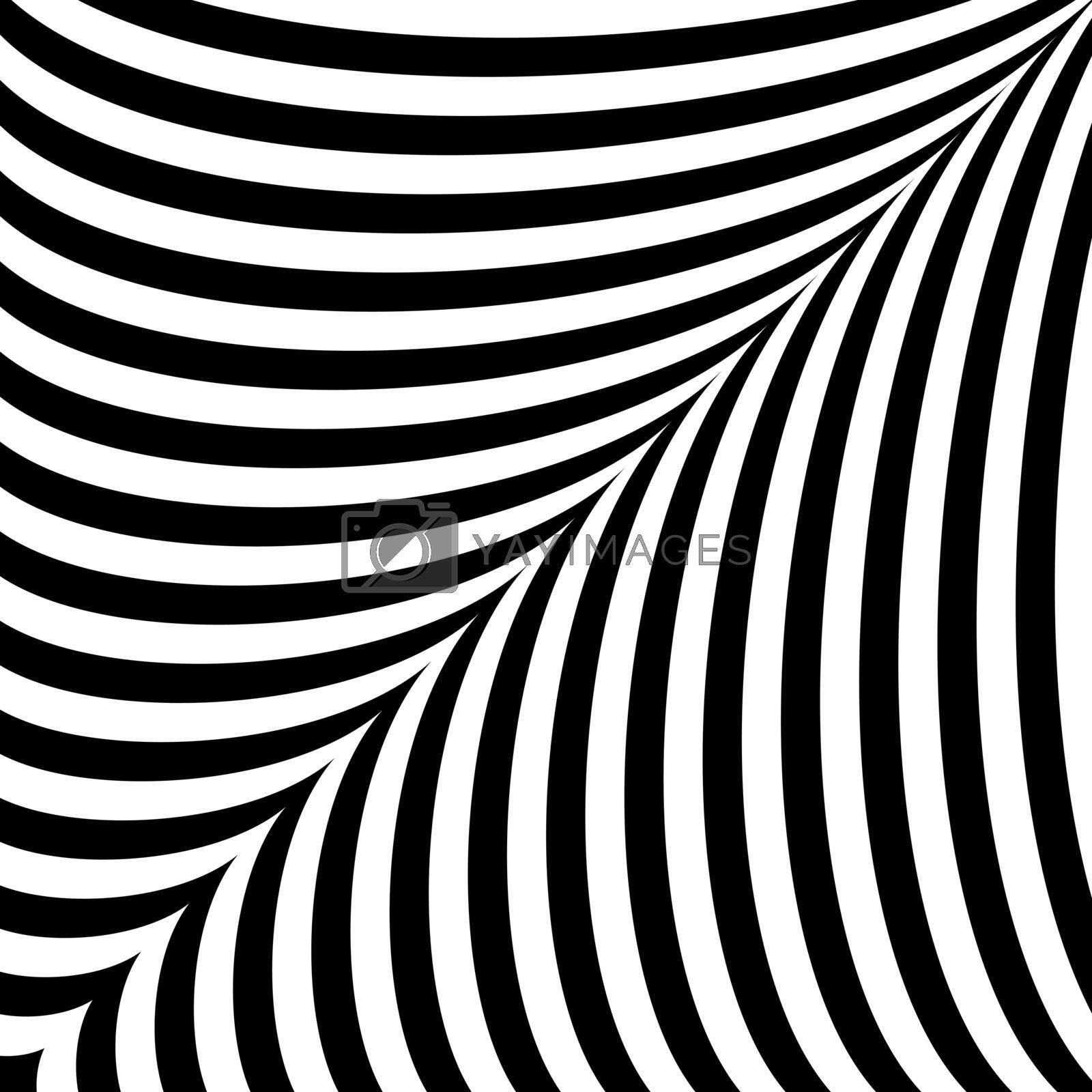 Black and white abstract background with curves symmetrical stripes.