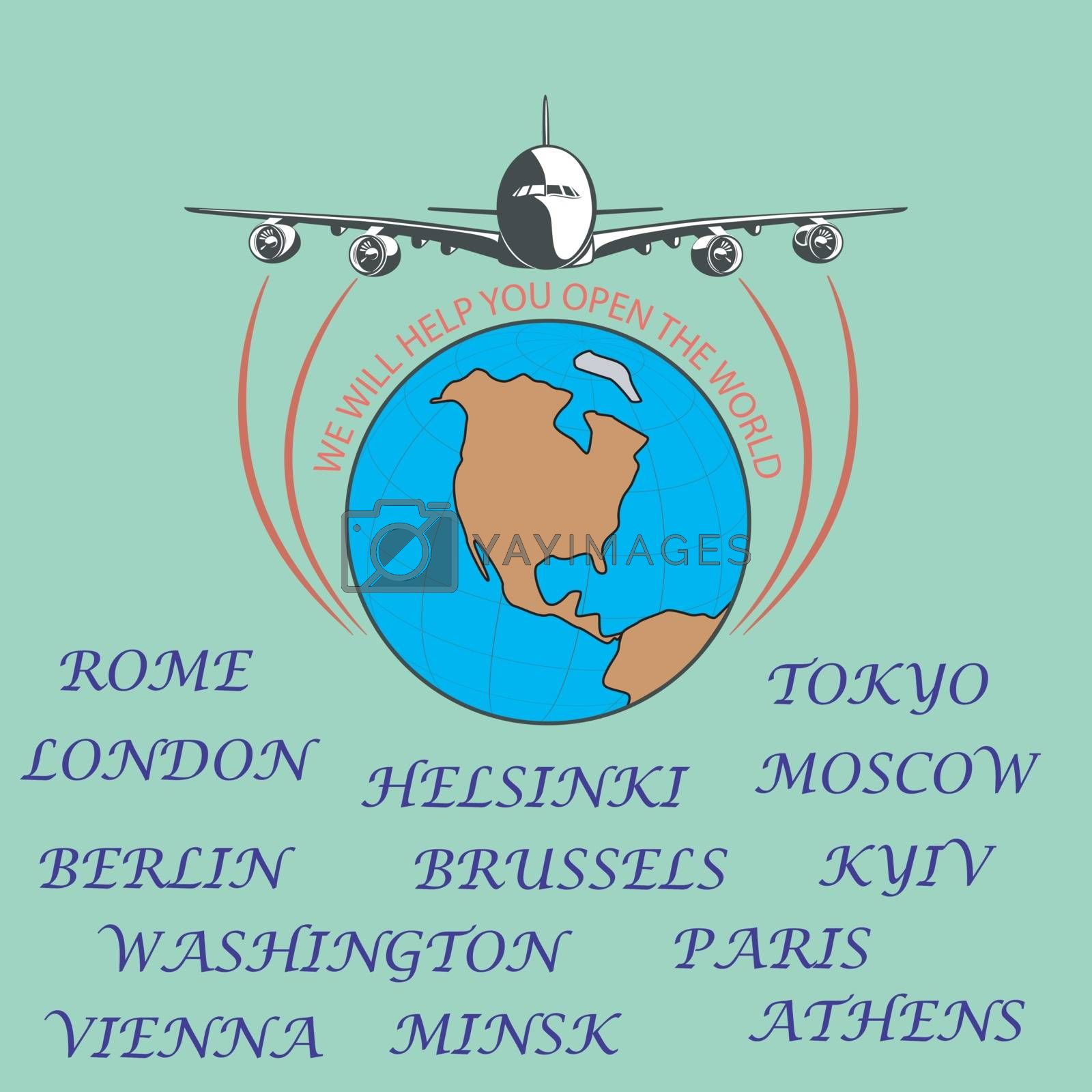 Drawing a passenger airplane in flight. A trip from America to Europe . For advertising and design.
