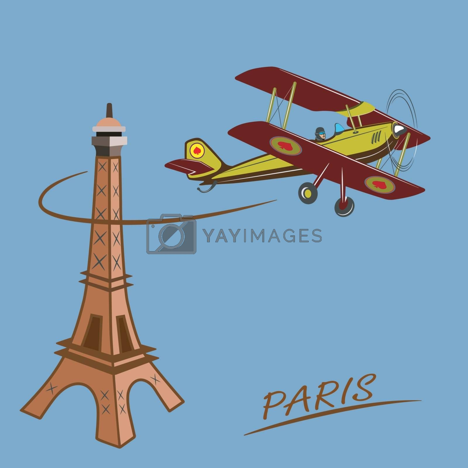 Drawing a passenger airplane in flight. A trip from America to Europe and Paris. For advertising and design.