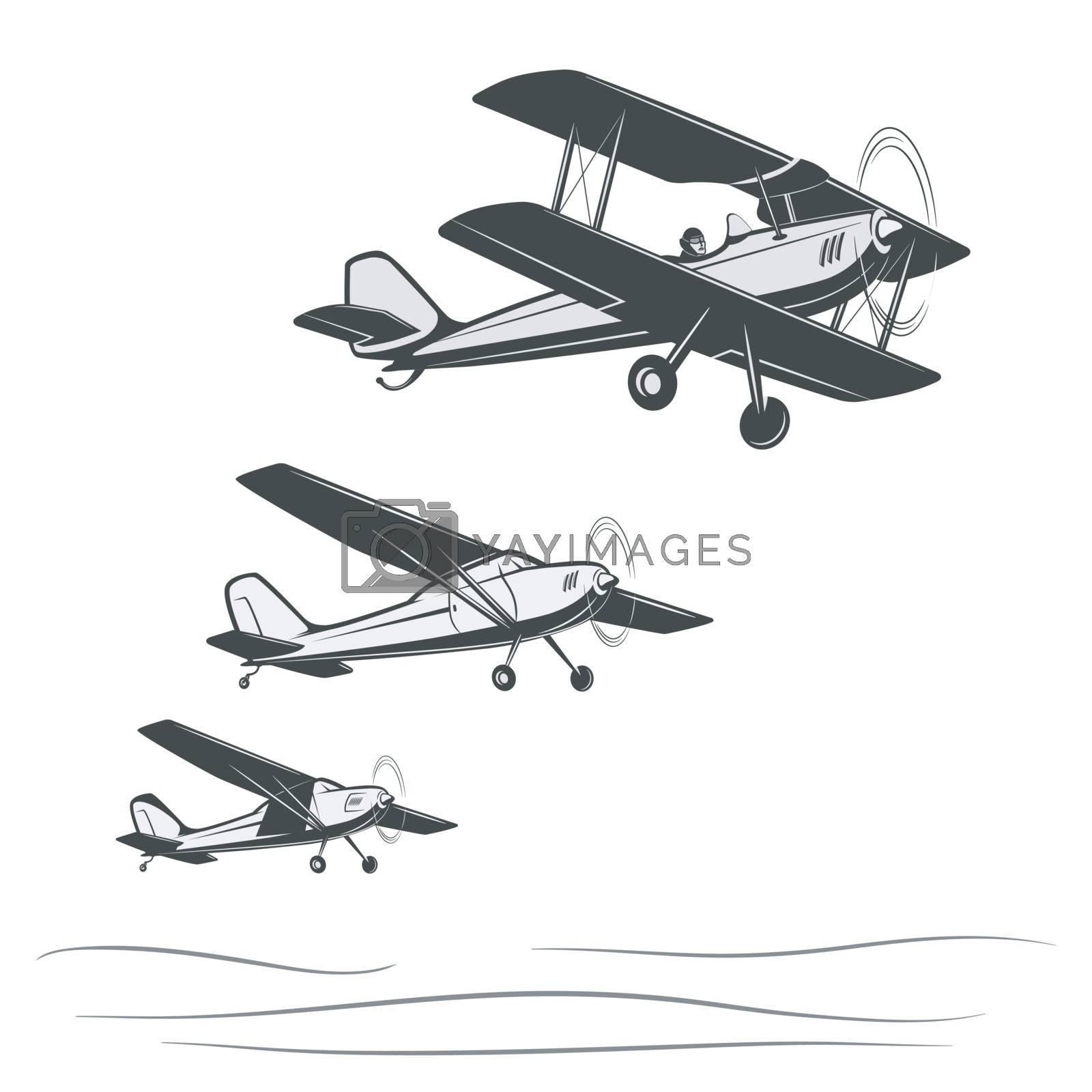 Parade of three retro airplanes. Monochrome vintage pattern.