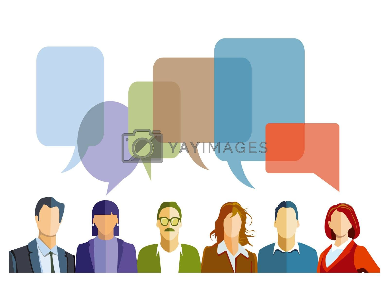 Discussion in the group with speech bubbles