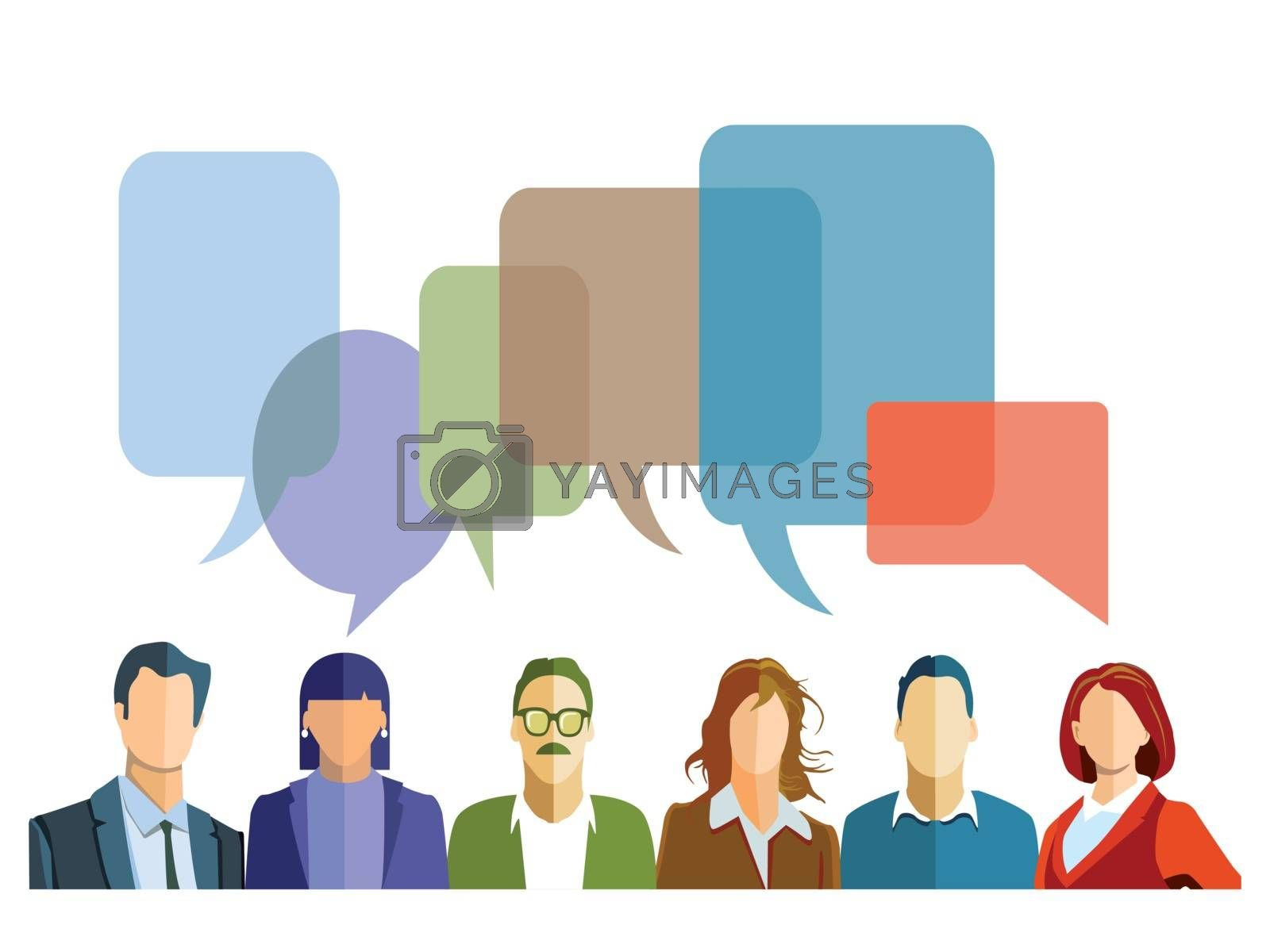 Royalty free image of Discussion in the group with speech bubbles by scusi