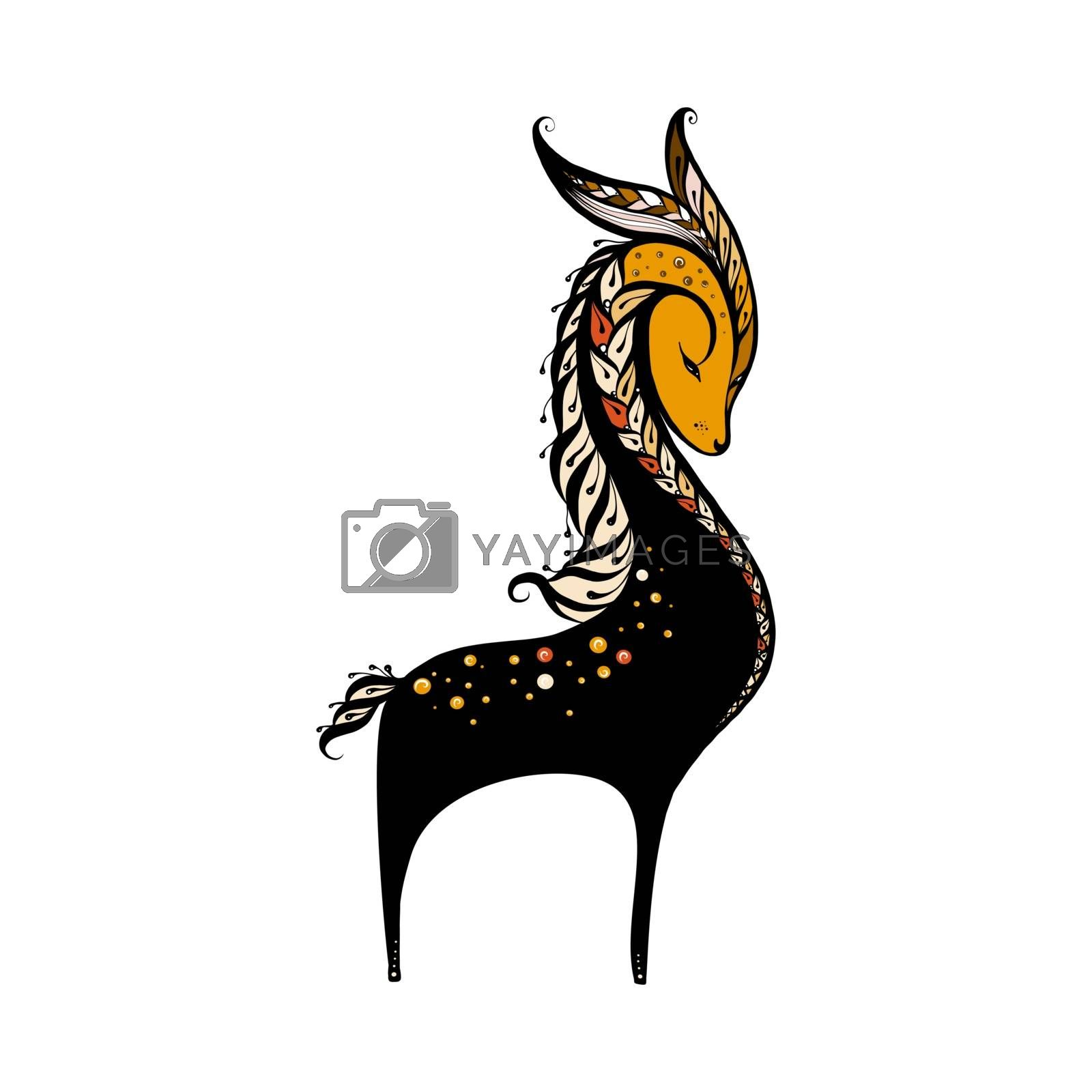 Stylized Illustration of a Deer on White Background