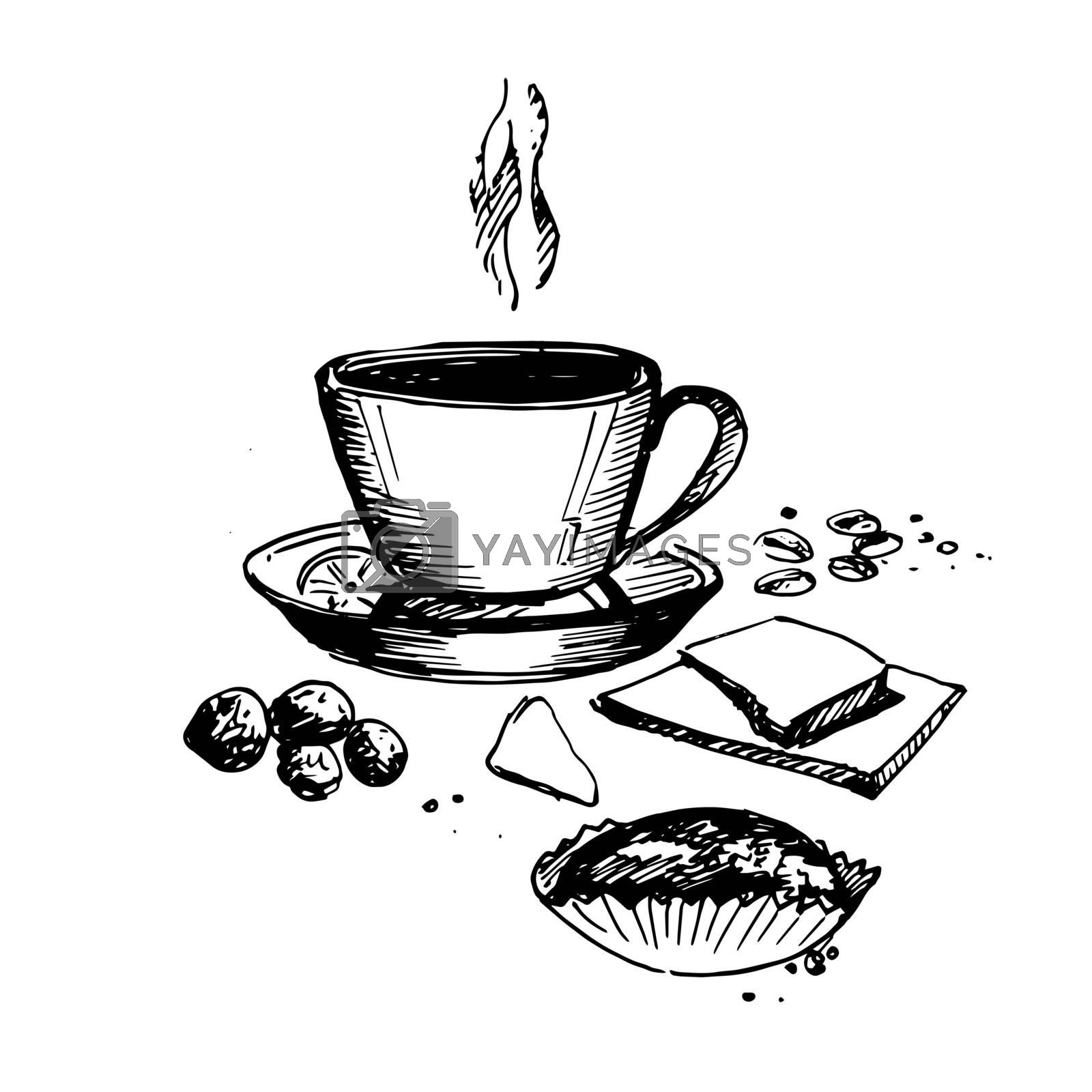 Hand Drawn Still Life with Coffee Cup. Sketch Coffee Illustration In Monochrome Style. Vintage Sketch. Great for Label, Banner, Poster