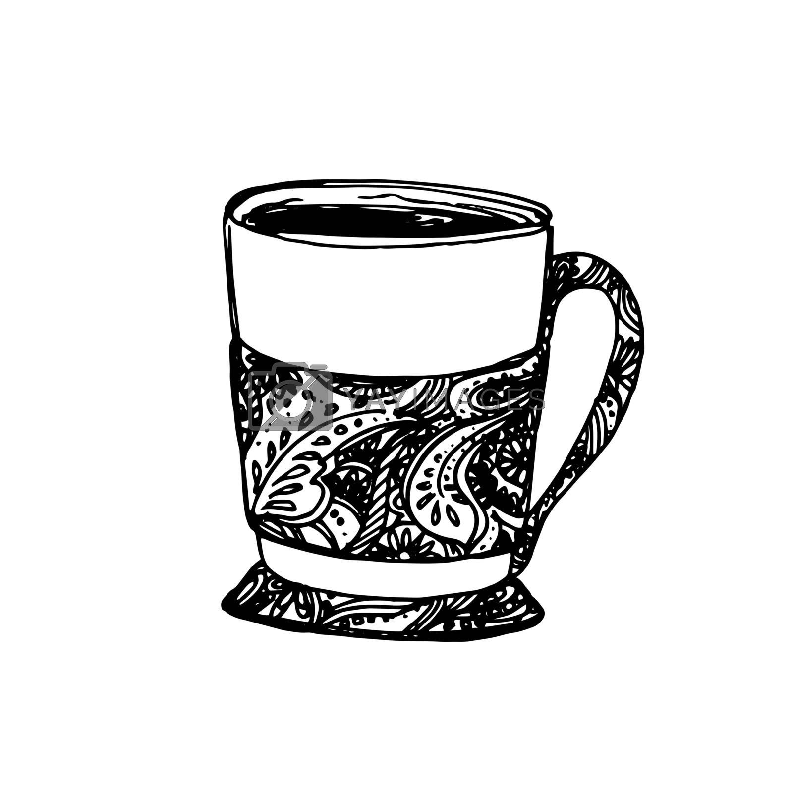Hand Drawn Sketch of Tea Cup. Vintage Sketch. Great for label, banner, poster