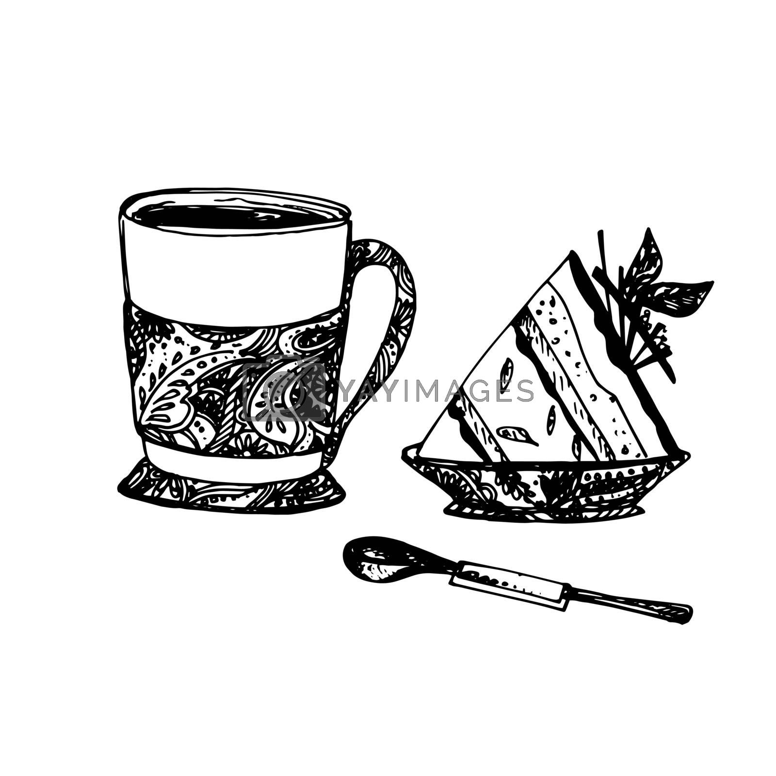 Hand Drawn Sketch of Tea Cup with Delicious Cheesecake and Teaspoon. Vintage Sketch. Great for Banner, Label, Poster