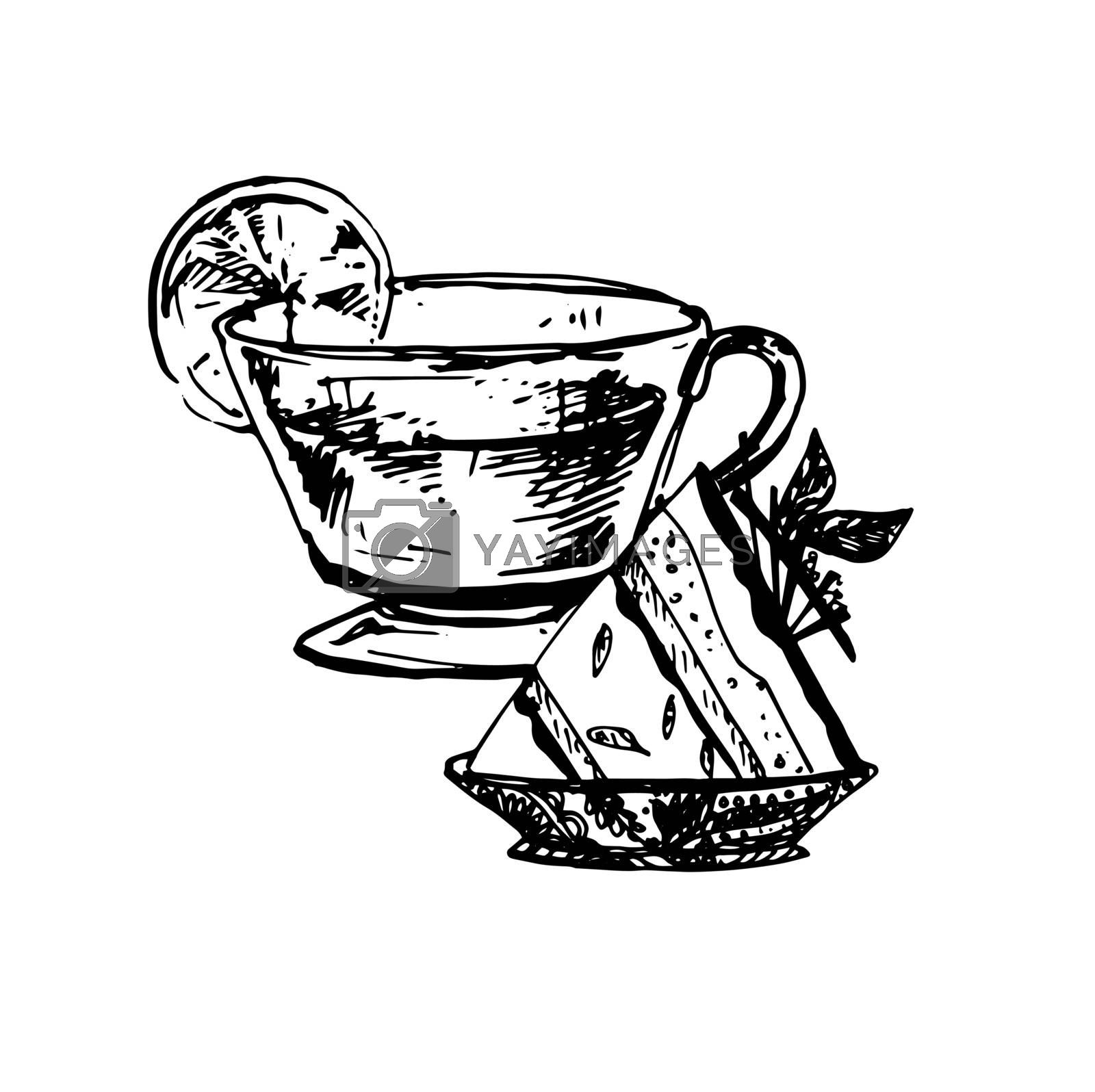 Hand Drawn Sketch of Tea Cup and Delicious Cheesecake. Vintage Sketch. Great for Label, Poster