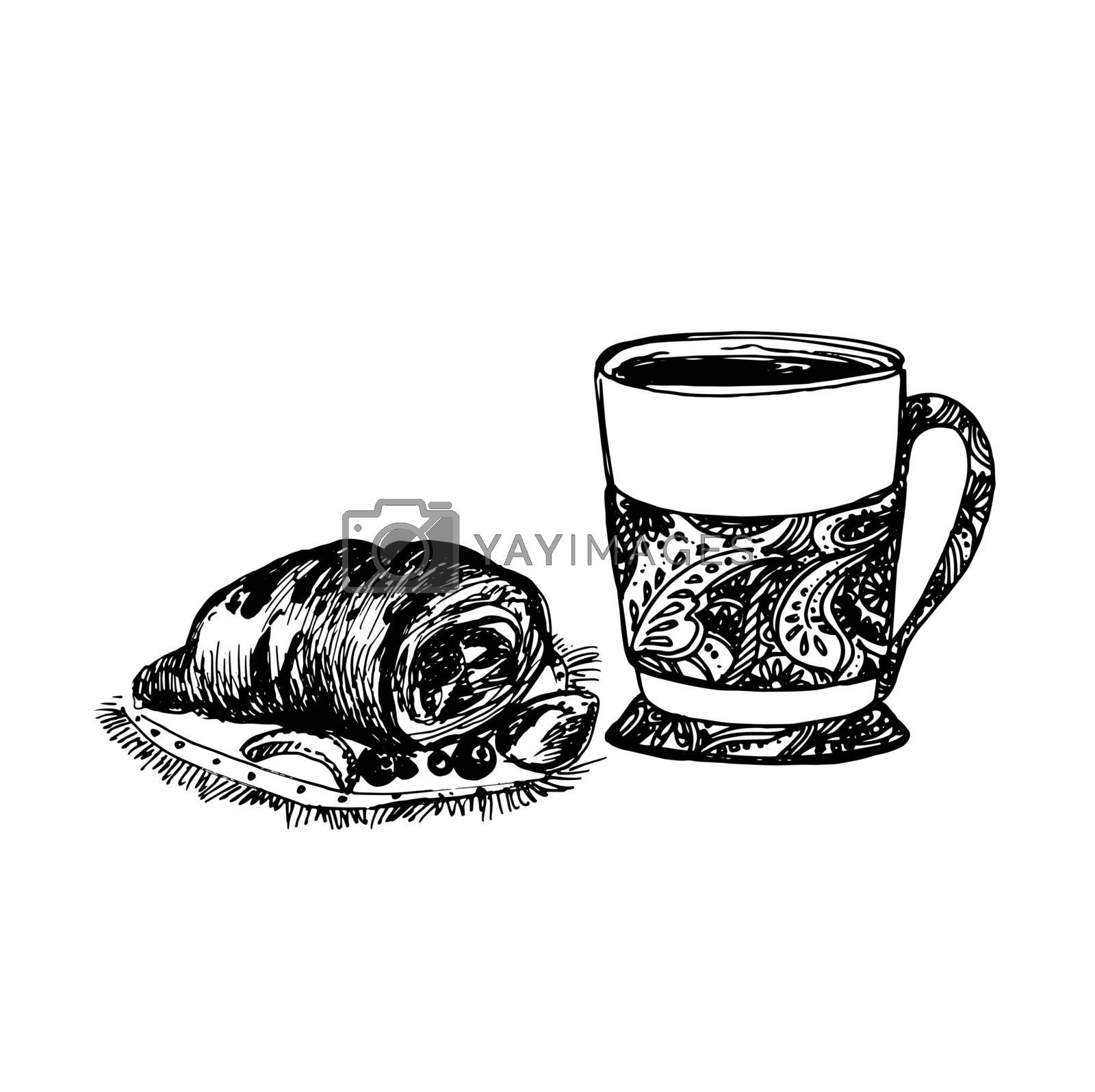 Hand Drawn Sketch of Tea Cup and Delicious Croissant. Vintage Sketch. Great for Banner, Label, Poster