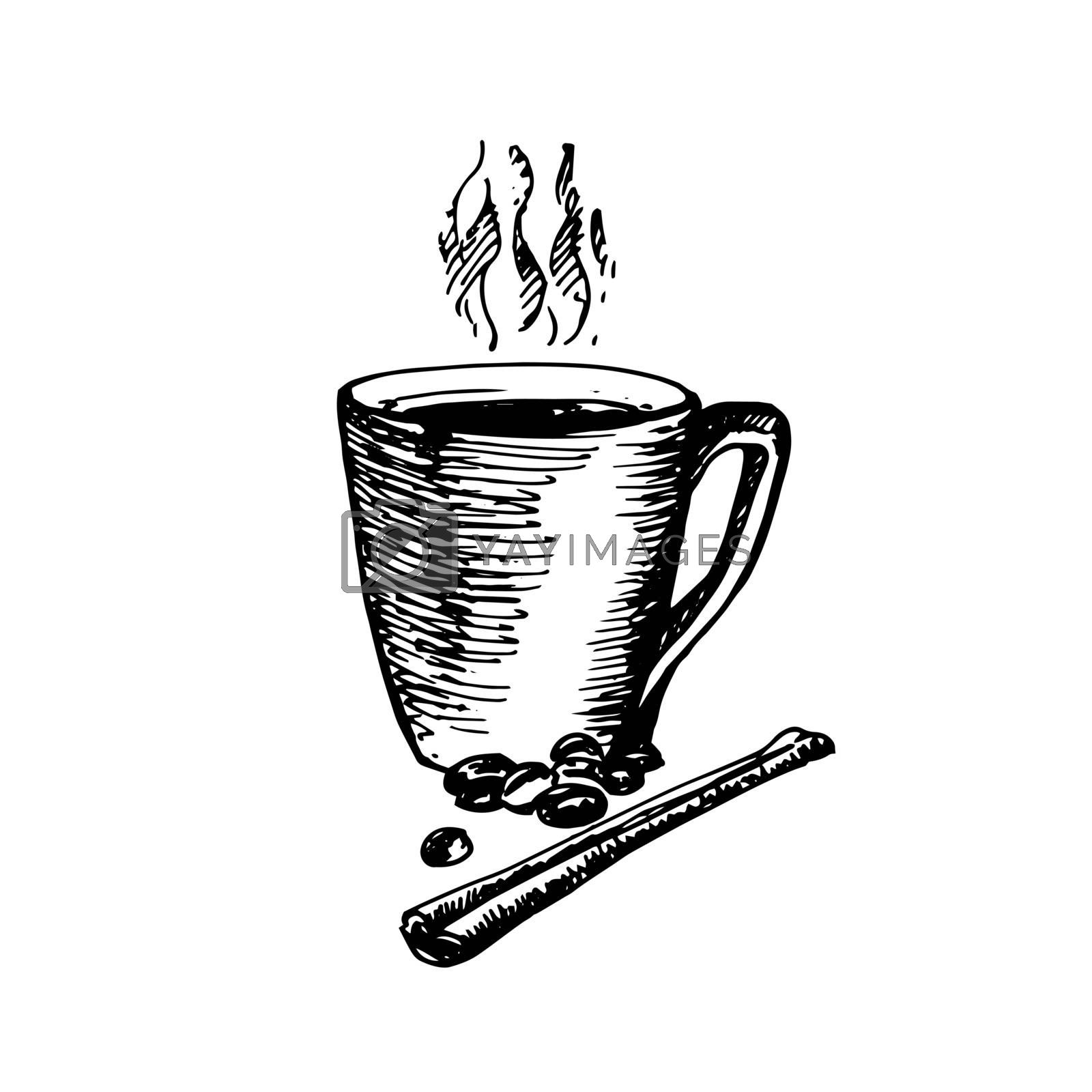 Hand Drawn Sketch of Coffee Cup with Cinnamon. Vintage Sketch. Great for Banner, Label, Poster