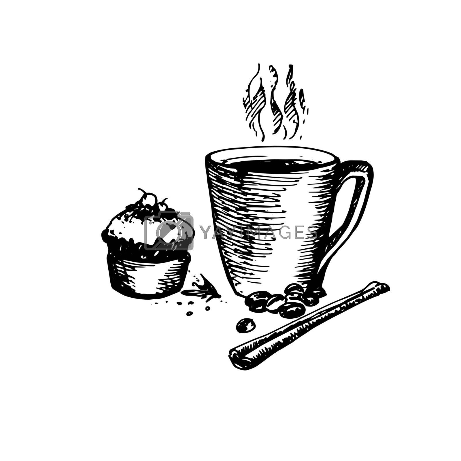 Hand Drawn Sketch of Coffee Cup with Delicious Cupcake and Cinnamon. Vintage Sketch. Great for Banner, Label, Poster