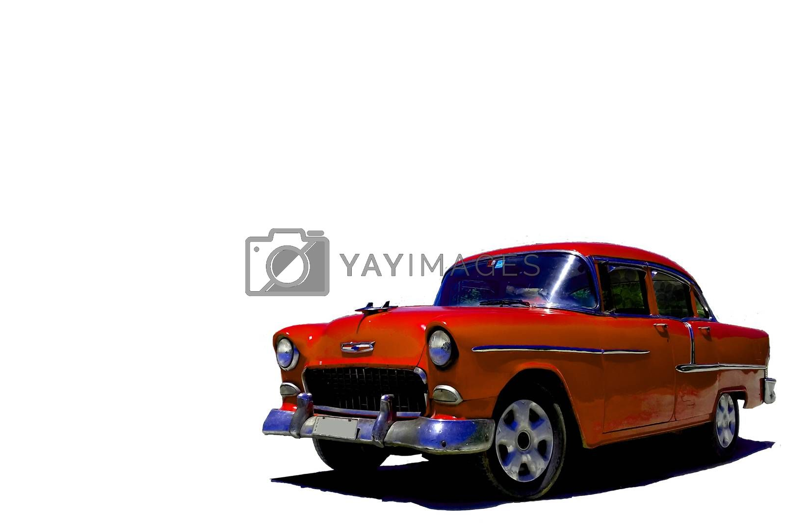 Red vintage American car on isolated white background by mdsfotograf